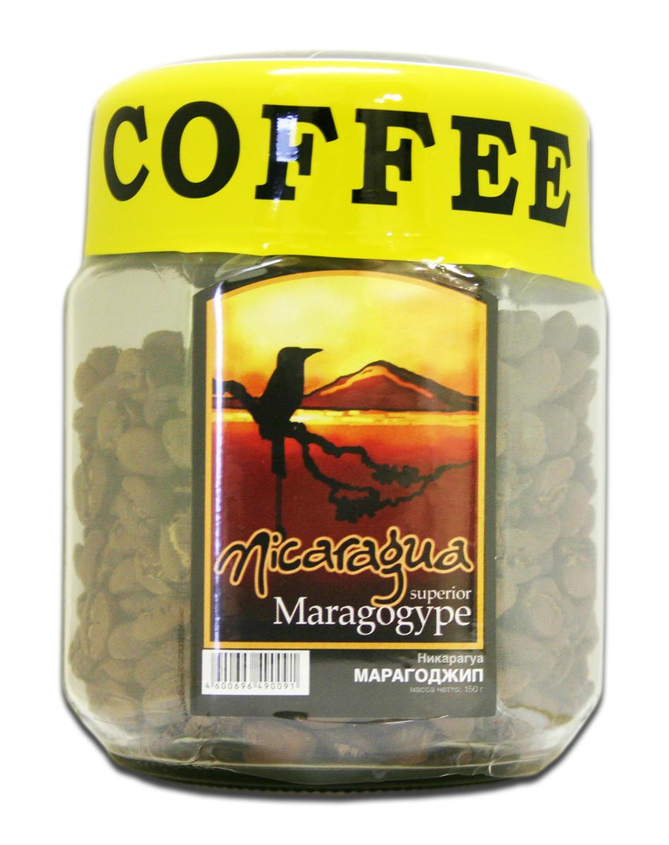 Блюз Марагоджип Никарагуа кофе в зернах, 150 г (банка)8056370761012Марагоджип - один из самых популярных сортов кофе. В нем сплелись традиции и новаторство, ручной труд и высокие технологии. Напиток имеет горьковато-вяжущий с легкими винными нотками вкус и тонкий аромат. Настой терпкий густой, присутствует короткое послевкусие.