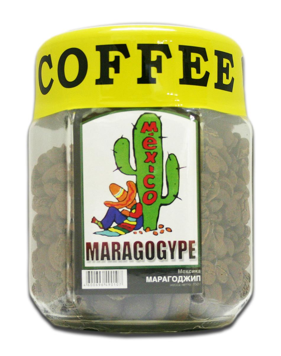 Блюз Марагоджип Мексика кофе в зернах, 150 г (банка)4600696121193В Мексике этот необычный сорт кофе известен как Ликвуидамбар. Характерной особенностью этого кофе является неповторимый мягкий вкус. Напиток обладает выразительным букетом, насыщенным вкусом и выраженной кислинкой.