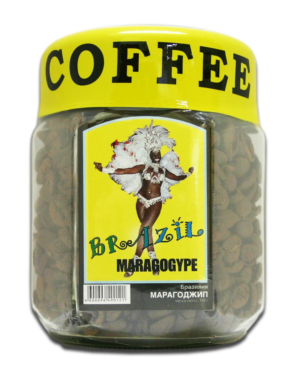 Блюз Марагоджип Бразилия кофе в зернах, 150 г (банка)4600696460216Блюз Марагоджип Бразилия - самая крупная разновидность арабики. Настой насыщенный, терпкий, а кислинка винно - фруктовая. Консистенция напитка - мягкая, обволакивающая, сливочная. Букет отлично сбалансирован. Игривые, сладкие нотки муската, гвоздики, грецкого ореха, цедры лайма подарят незабываемые ощущения.