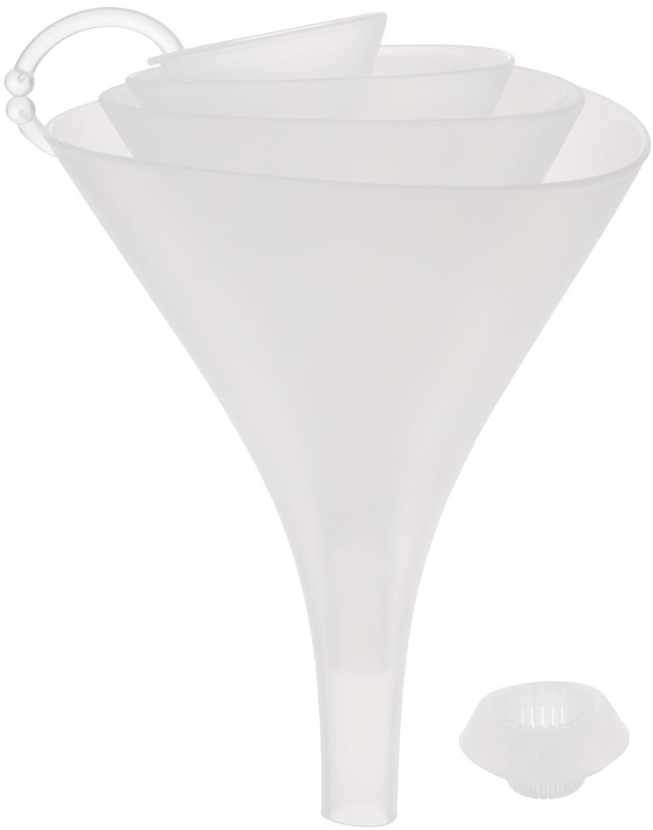 Набор воронок Tescoma Presto, с ситом, цвет: прозрачный, 4 шт68/5/4Набор воронок Tescoma Presto состоит из 4 воронок, изготовленных из первоклассной стойкой пластмассы. Прекрасно подходят для заливки и процеживания жидкостей в малые и большие емкости, оснащены универсальным ситом, которое не забивается и подходит для всех четырех воронок. Благодаря треугольной форме воронки не катаются по столу. Такие воронки станут прекрасным дополнением к коллекции ваших кухонных аксессуаров. Можно мыть в посудомоечной машине. Диаметр воронок: 13 см; 11 см; 9 см; 5 см.Высота воронок: 17 см; 14 см; 11 см; 7 см.Размер сита: 4 х 4 х 2 см.