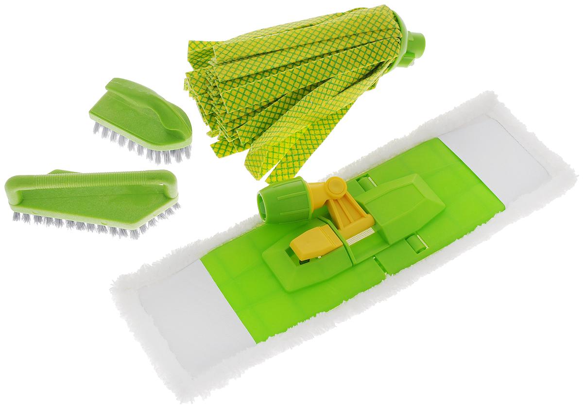 Комплект для уборки Вот!, 5 предметов531-401Комплект для уборки Вот! состоит из платформы, сменной насадки из микрофибры, ленточного мопа и двух щеток. Такой комплект сделает уборку легкой и обеспечит идеальную чистоту.Размер платформы: 41 х 10 см.Размер сменной насадки: 44 х 13 см.Длина мопа: 26 см.Размер большой щетки: 15 х 5 см.Размер маленькой щетки: 10 х 5 см.Длина ворса щеток: 2 см.
