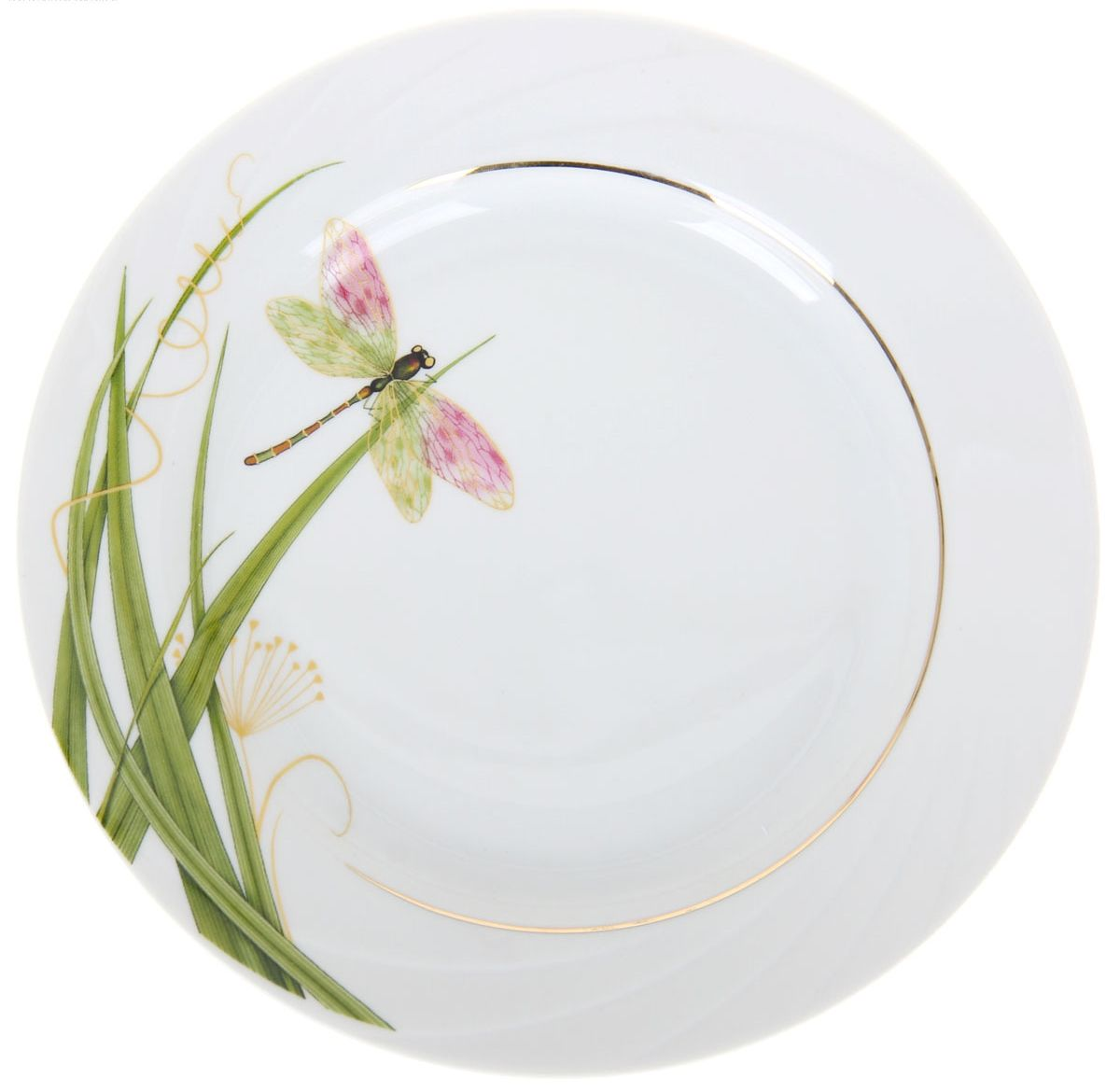 Тарелка мелкая Голубка. Стрекоза, диаметр 17,5 см1224523Мелкая тарелка Голубка. Стрекоза выполнена из высококачественного фарфора и оформлена изображением стрекозы. Изделие сочетает в себе изысканный дизайн с максимальной функциональностью. Она прекрасно впишется в интерьер вашей кухни и станет достойным дополнением к кухонному инвентарю. Тарелка Голубка. Стрекоза подчеркнет прекрасный вкус хозяйки и станет отличным подарком. Диаметр: 17,5 см.
