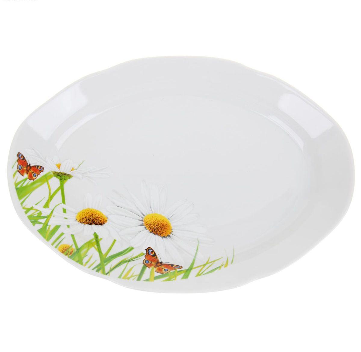 Блюдо овальное Идиллия. Ромашка, 33 х 23 см1280306Овальное блюдо Идиллия. Ромашка изготовлено из качественного фарфора. Изделие имеет волнистые края. Блюдо оформлено ярким цветочным рисунком. Такое блюдо красиво оформит ваш стол и станет незаменимым на вашей кухне. Размер блюда: 33 х 23 х 4 см.