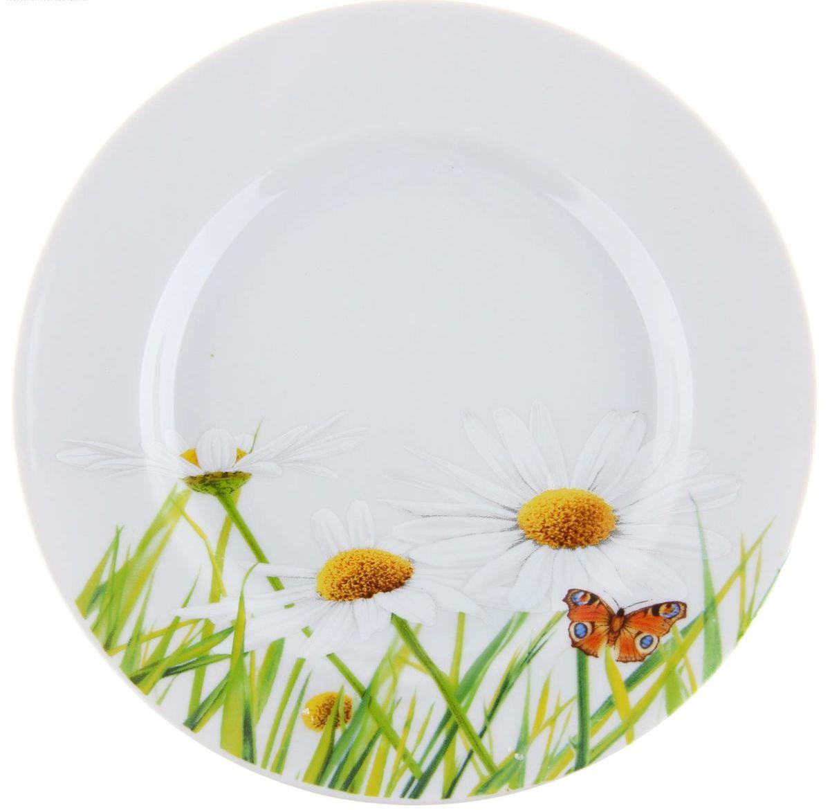 Тарелка мелкая Идиллия. Ромашка, диаметр 17 см1280308