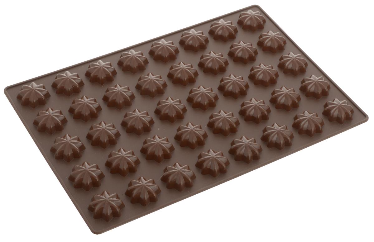 Форма для выпечки Tescoma Звездочки, 40 ячеек54 009312Форма для выпечки Tescoma Звездочки изготовлена из высококачественного силикона. Форма содержит 40 неглубоких ячеек.Простая в уходе и долговечная в использовании форма будет верной помощницей в создании ваших кулинарных шедевров. Изделие подходит для использования в холодильнике.На упаковке имеются рецепты приготовления вкусных десертов.Можно мыть в посудомоечной машине.Размер формы: 32 x 22 х 0,7 см.Диаметр ячейки: 3 см.