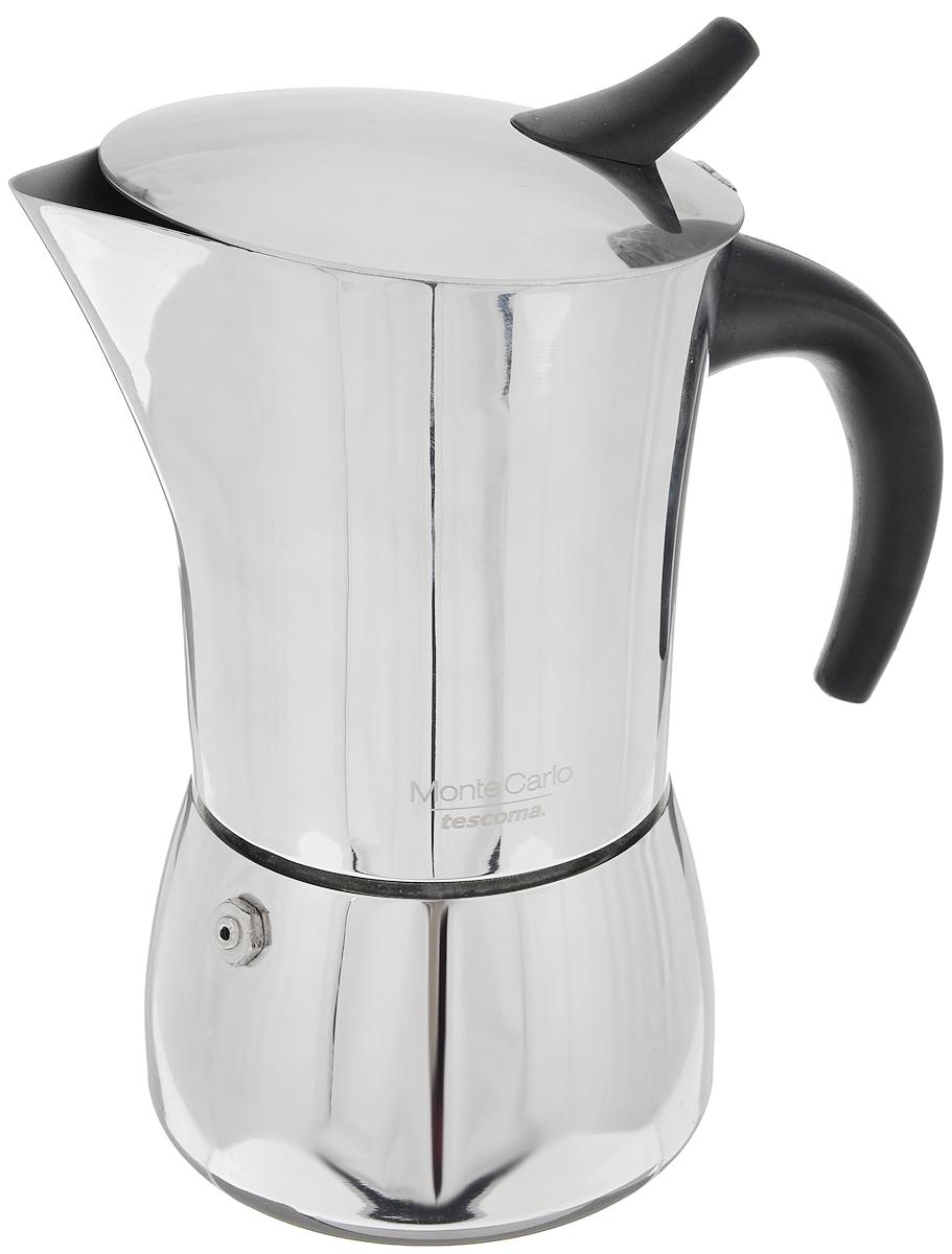 Кофеварка гейзерная Tescoma Monte Carlo, на 4 чашки391602Компактная гейзерная кофеварка Tescoma Monte Carlo изготовлена из высококачественной нержавеющей стали. Объема кофе хватает на 4 чашки. Изделие оснащено удобной ручкой из пластика.Принцип работы такой гейзерной кофеварки - кофе заваривается путем многократного прохождения горячей воды или пара через слой молотого кофе. Удобство кофеварки в том, что вся кофейная гуща остается во внутренней емкости. Гейзерные кофеварки пользуются большой популярностью благодаря изысканному аромату. Кофе получается крепкий и насыщенный. Подходит для газовых, электрических, стеклокерамических и индукционных плит. Нельзя мыть в посудомоечной машине. Высота (с учетом крышки): 17 см.Диаметр (по верхнему краю): 8,7 см.