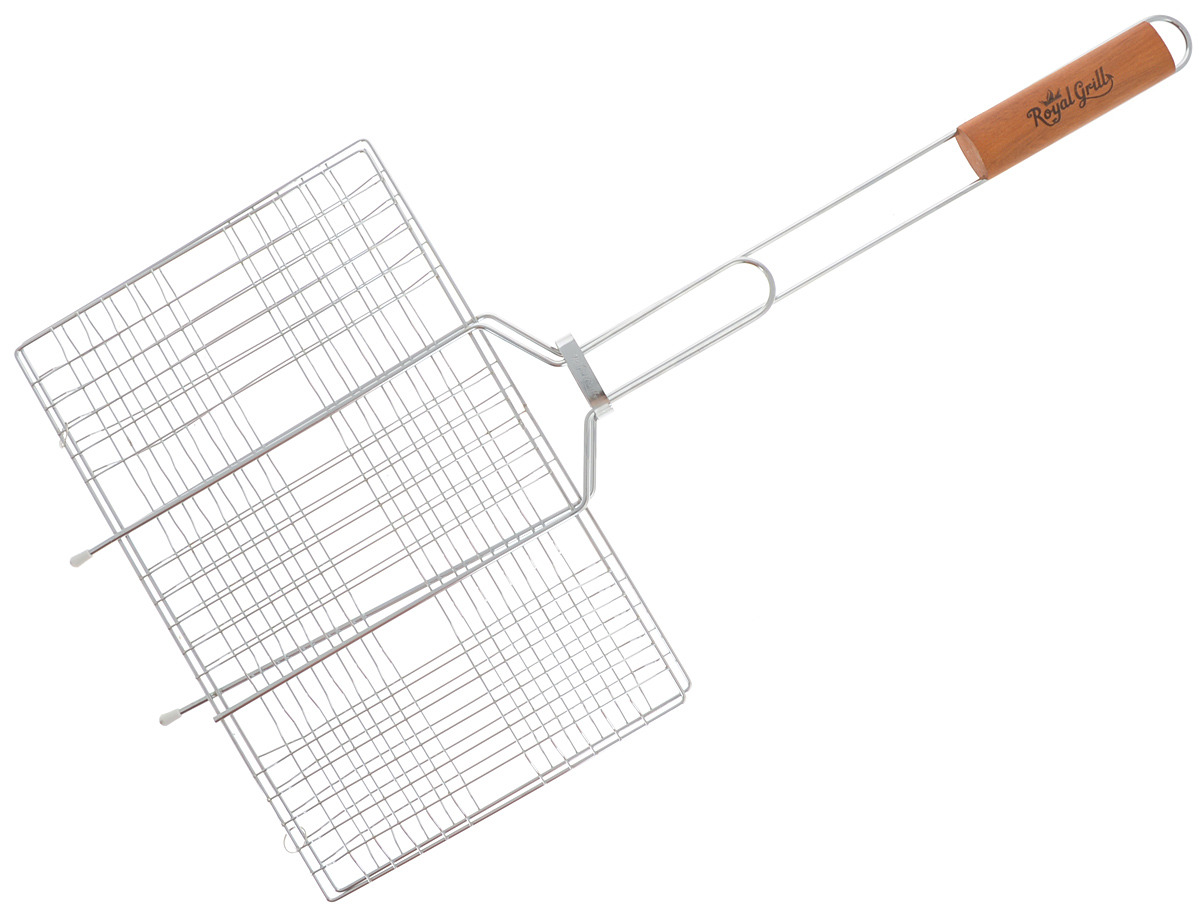 Решетка-гриль RoyalGrill, универсальная, 6 секций, 34 х 22 см391602Решетка-гриль RoyalGrill изготовлена из высококачественной стали. На решетке удобно размещать стейки, ребрышки, гамбургеры, сосиски, рыбу, овощи.Решетка предназначена для приготовления пищи на углях. Блюда получаются сочными, ароматными, с аппетитной специфической корочкой. Рукоятка изделия оснащена деревянной вставкой и фиксирующей скобой, которая зажимает створки решетки. Размер рабочей поверхности решетки (без учета усиков): 34 х 22 см.Общая длина решетки (с ручкой): 67 см.