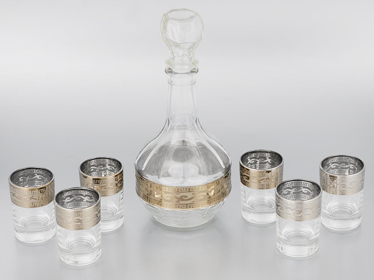 Набор стопок Гусь-Хрустальный Версаче, с графином, 7 предметовVT-1520(SR)Набор Гусь-Хрустальный Версаче состоит из шести стопок и графина, изготовленных изпрочного натрий-кальций-силикатного стекла. Изделия, предназначенные для подачи водкии других спиртных напитков, несомненно придутся вам по душе. Рюмки и графин сочетают в себе элегантный дизайн ифункциональность.Набор стопок Гусь-Хрустальный Версаче идеально подойдет для сервировки стола истанет отличным подарком к любому празднику.Диаметр стопки: 4,5 см. Высота стопки: 6,5 см.Объем стопки: 60 мл.Высота графина: 23,5 см.Объем графина: 500 мл.