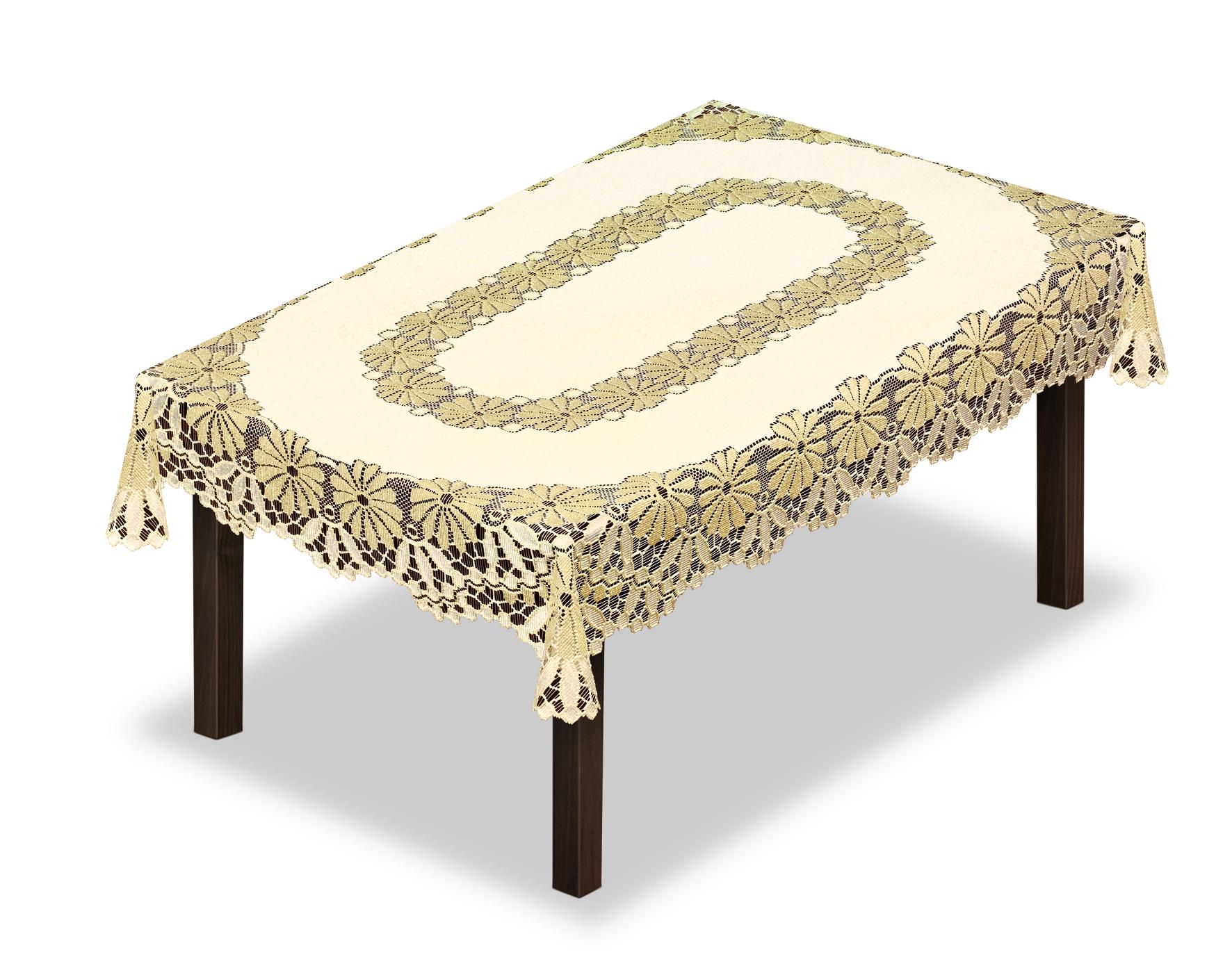 Скатерть Haft, прямоугольная, цвет: кремовый, золотистый, 100 х 150 см. 22870980019Великолепная скатерть Haft, выполненная из полиэстера, органично впишется в интерьер любого помещения, а оригинальный дизайн удовлетворит даже самый изысканный вкус.Скатерть Haft создаст праздничное настроение и станет прекрасным дополнением интерьера гостиной, кухни или столовой.