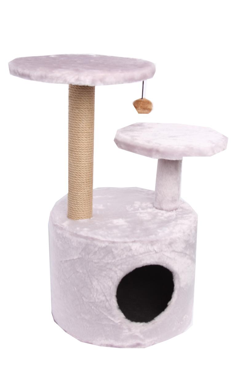 Когтеточка Lion Manufactory Барсик, 40 х 40 х 80 см0120710Игровой комплекс для кошек Lion Manufactory Барсик выполнен из высококачественного ДСП и обтянут искусственным мехом. Изделие предназначено для кошек. Ваш домашний питомец будет с удовольствием точить когти о специальный столбик, изготовленный из джута. А отдохнуть он сможет либо на полках разной высоты, либо в расположенном внизу домике. На одной из полок имеется подвесная игрушка.Общий размер: 40 х 40 х 80 см.Размер домика: 40 х 40 х 30 см.Диаметр полок: 34 см, 30 см.