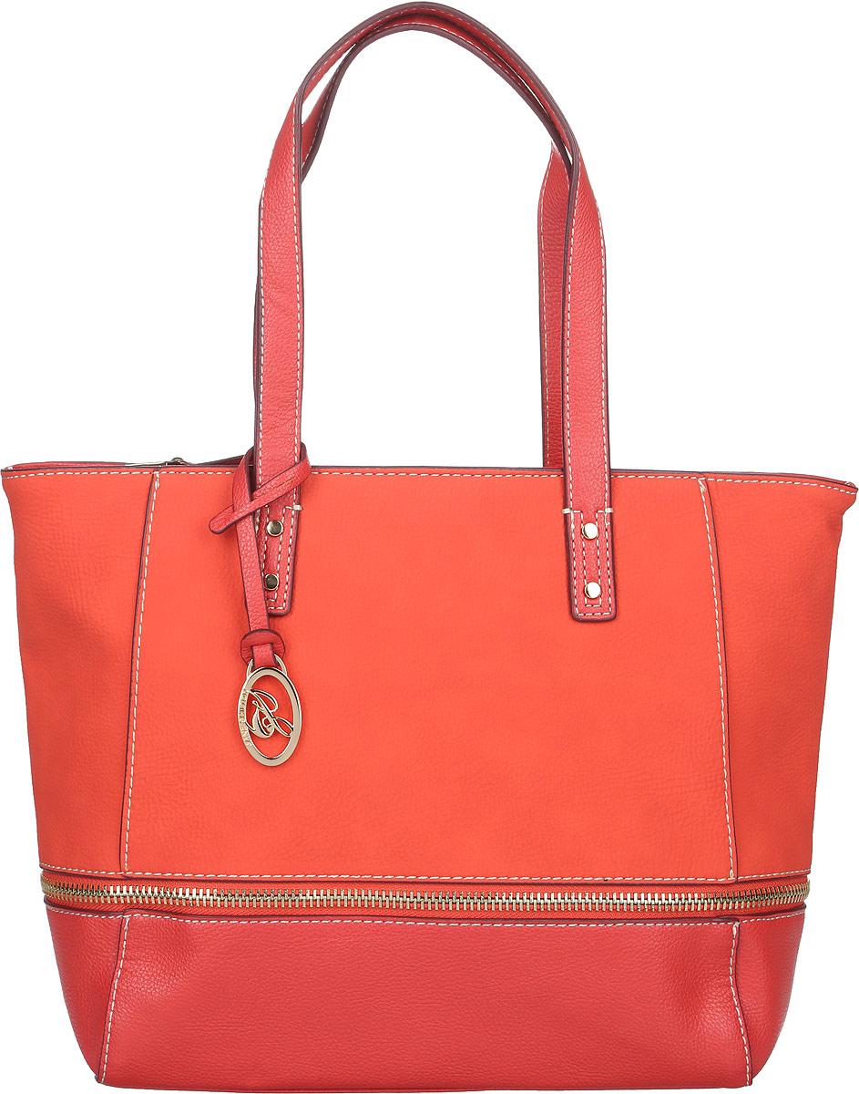 Сумка женская Jane Shilton, цвет: морковный, красный. 2077S76245Стильная женская сумка Jane Shilton, выполненная из искусственной кожи, оформлена декоративной молнией и дополнена фирменным брелоком. Изделие имеет одно основное отделение, разделенное пополам карманом-средником на застежке-молнии. Закрывается сумка на застежку-молнию. Внутри находятся прорезной карман на застежке-молнии и накладной открытый карман. Снаружи, на задней стенке расположен прорезной карман на застежке-молнии. Модель оснащена двумя удобными ручками. Роскошная сумка внесет элегантные нотки в ваш образ и подчеркнет ваше отменное чувство стиля.