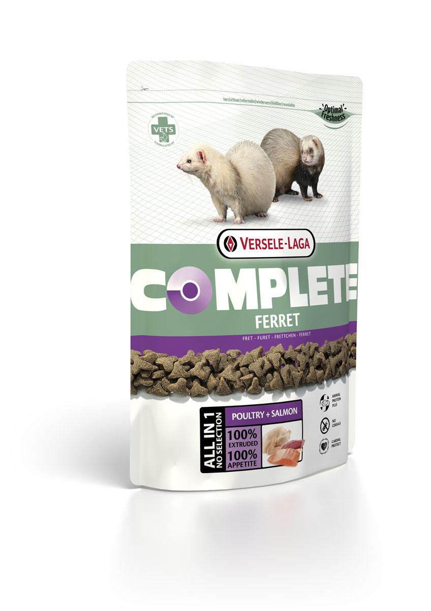 Корм для хорьков Versele-Laga Complete Ferret, 750 г0120710VERSELE-LAGA Ferret Complete комплексный корм для хорьков 750 г Полноценный и вкусный корм для хорьков, состоящий на 100% из легкоусваиваемых экструдированных гранул. Обеспечивает организм зверьков питательными веществами, микроэлементами и витаминами, благодаря чему повышает иммунитет хорька. Из-за своей структуры корм является отличным средством для профилактики заболеваний зубов и десен. Состав: Курица (более 30%), рыба, ФОС, МОС, витамимны, натуральные растительные пигменты (лютеин, бетта-каротин), Омега-3, Омега-6, волокна клетчатки, экстракт Юкки.Аналитический состав: Сырой протеин 36%, Сырой жир 19%, Сырая клетчатка 3%, Сырая зола 6,5%, Кальций 1%, Фосфор 0,9%, Магний 0,09%, Витамин 25,000 МЕ / кг, Витамин D3 2,000 МЕ / кг, Витамин Е 150 мг / кг, Витамин C 50 мг / кг, Медно-меди (II) sulfat 20 мг / кг, Таурин 2,000 мг / кг, ?-каротин 10 мг / кг.