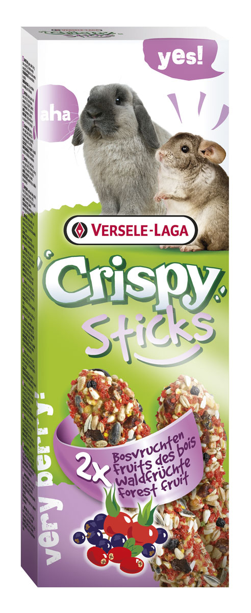 Палочки для кроликов и шиншилл Versele-Laga Crispy, с лесными ягодами, 2 х 55 г462062Палочки для кроликов и шиншилл с лесными ягодами Versele-Laga.Палочки Versele-Laga для кроликов и шиншилл с лесными ягодами – великолепное угощение для зверьков. Эти палочки настоящий праздник вкуса для грызунов. В состав входят злаки, плоды шиповника и дикие ягоды.Все компоненты тщательно отбираются и имеют самое высокое качество. Состав: злаковые, семена, мед, различные сахара, ягоды (ягоды бузины, клюква, плоды шиповника), пекарские продукты, масла и жиры. В упаковке 2 палочки.