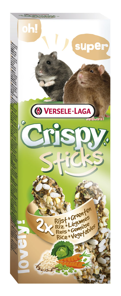 Палочки для хомяков и крыс Versele-Laga Crispy, с рисом и овощами, 2 х 55 г462068VERSELE-LAGA палочки для хомяков и крыс с рисом и овощами 2х55 г.Палочки VERSELE-LAGA для хомяков и крыс с рисом и овощами – это не только вкусное лакомство, но источник витаминов и других питательных веществ. С таким угощением ваш питомец всегда будет весел и бодр, потому что его здоровье будет в безопасности.В упаковке 2 палочки. Вес 1 палочки: 55 г. Состав: Злаковые (воздушный рис), семена, мед, различные сахара, овощи (морковь, капуста, горох), масла и жиры.