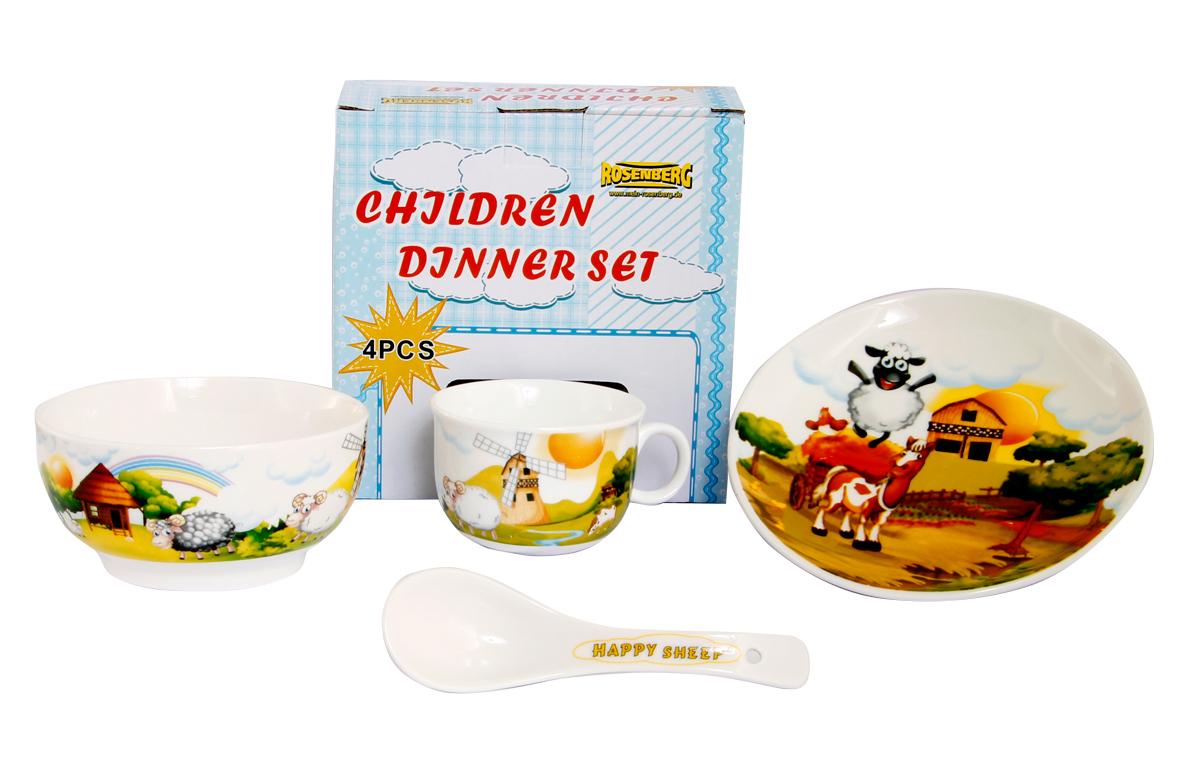 Rosenberg Набор детской посуды 87968115510Набор детской посуды Rosenberg, 4 предмета:1 глубокая тарелка d=15 см,1 плоская тарелка d=18 см,1 кружка 180 мл,1 ложка 14 смМатериал: керамика