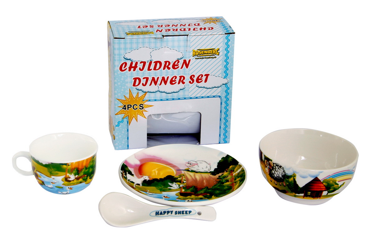 Rosenberg Набор детской посуды 879673807000164Набор детской посуды Rosenberg, 4 предмета:1 глубокая тарелка d=15 см,1 плоская тарелка d=18 см,1 кружка 180 мл,1 ложка 14 смМатериал: керамика