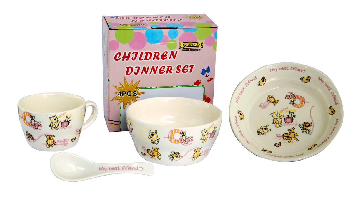 Rosenberg Набор детской посуды 87964115510Набор детской посуды Rosenberg, 4 предмета:1 глубокая тарелка d=15 см,1 плоская тарелка d=18 см,1 кружка 250 мл,1 ложка 14 смМатериал: керамика