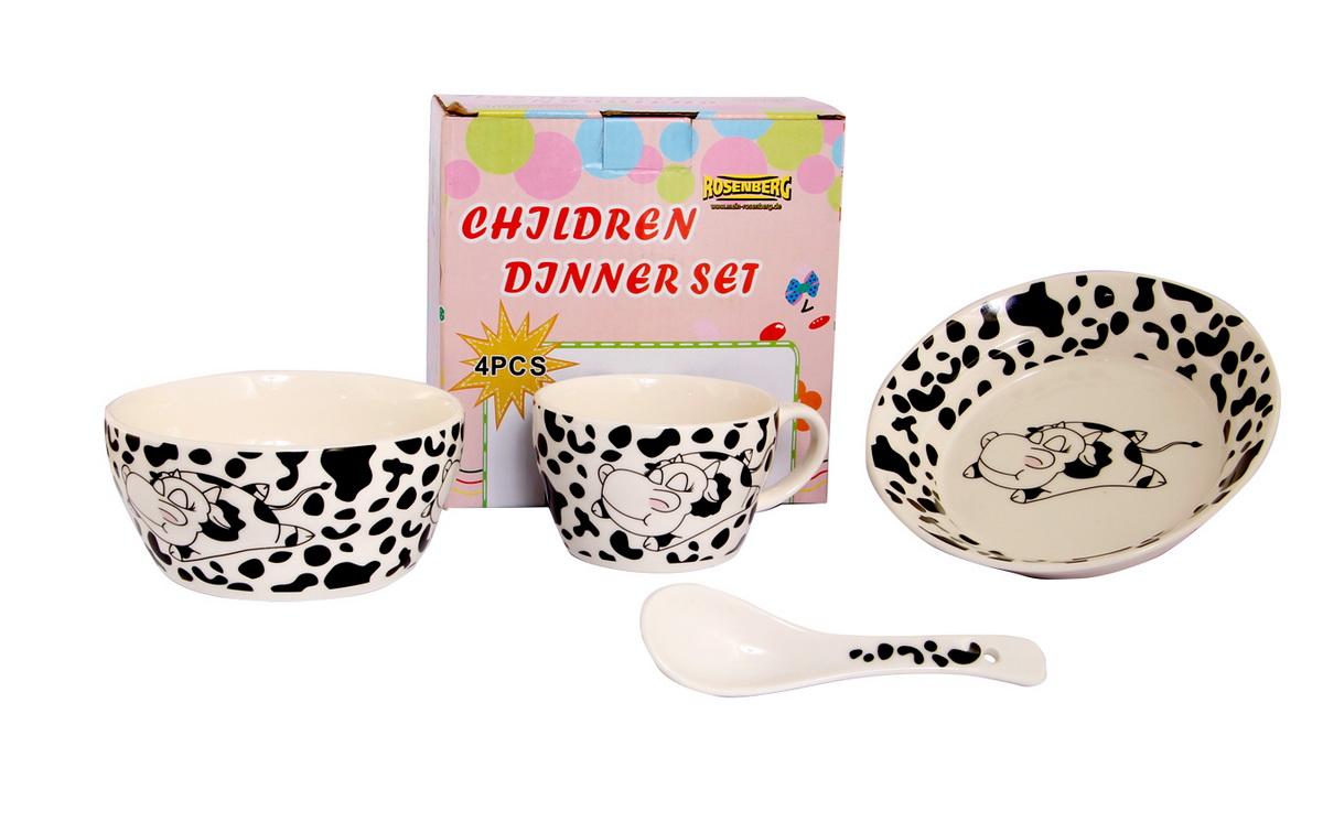 Rosenberg Набор детской посуды 879633807000160Набор детской посуды Rosenberg, 4 предмета:1 глубокая тарелка d=15 см,1 плоская тарелка d=18 см,1 кружка 250 мл,1 ложка 14 смМатериал: керамика