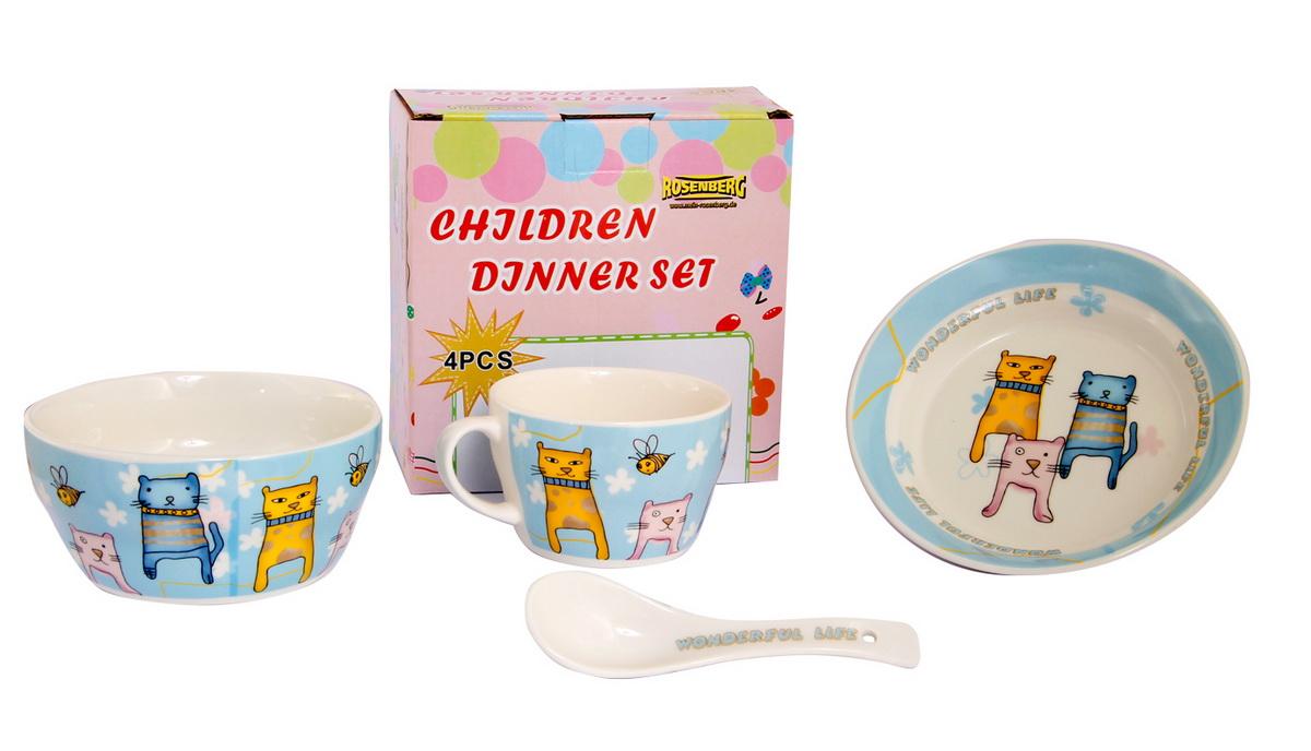 Rosenberg Набор детской посуды 87961115510Набор детской посуды Rosenberg, 4 предмета:1 глубокая тарелка d=15 см,1 плоская тарелка d=18 см,1 кружка 250 мл,1 ложка 14 смМатериал: керамика