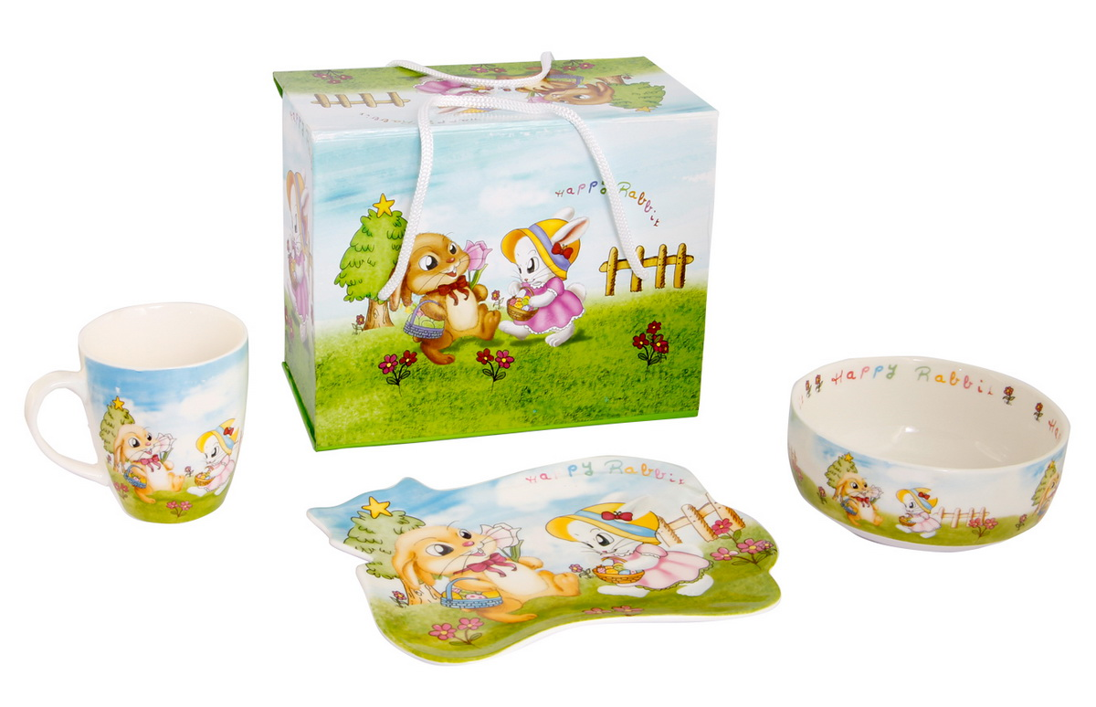 Rosenberg Набор детской посуды 8786FS-91909Набор детской посуды Rosenberg:плоская тарелка 17.5 х 15 см,глубокая тарелка 12.5 х 12.5 см, 300 млкружка 175 млМатериал: керамика