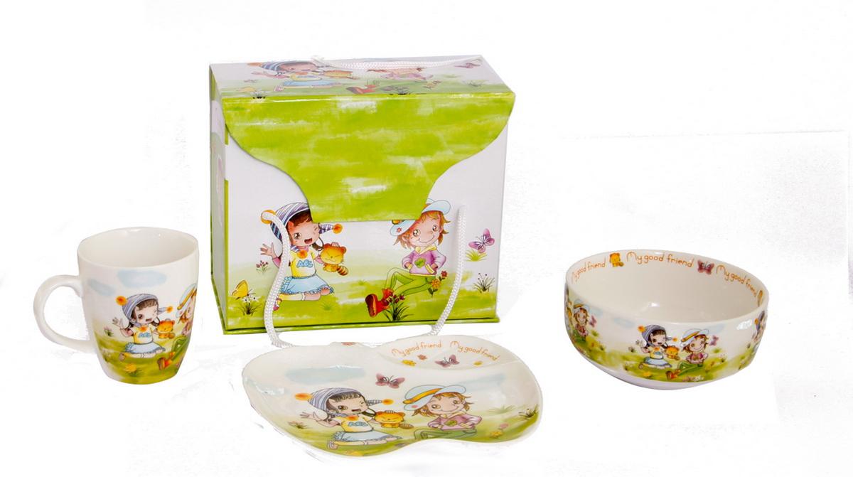 Rosenberg Набор детской посуды 8778115510Набор детской посуды Rosenberg:плоская тарелка 17.5 х 15 см,глубокая тарелка 12.5 х 12.5 см, 300 млкружка 175 млМатериал: керамика