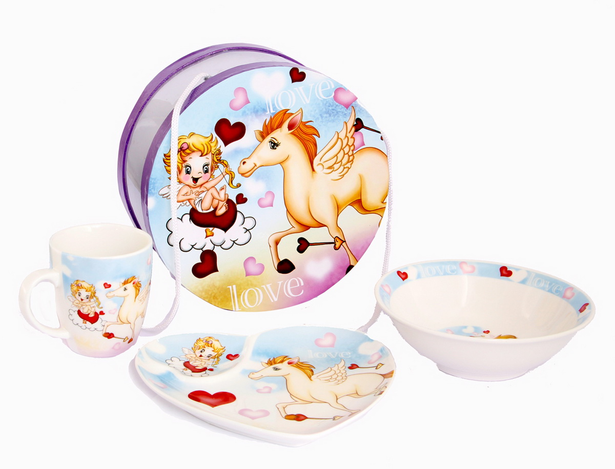Rosenberg Набор детской посуды 877654 009312плоская тарелка 17.5 х 16 см,глубокая тарелка 15.5 х 15.5 х 5 см,кружка 180мл