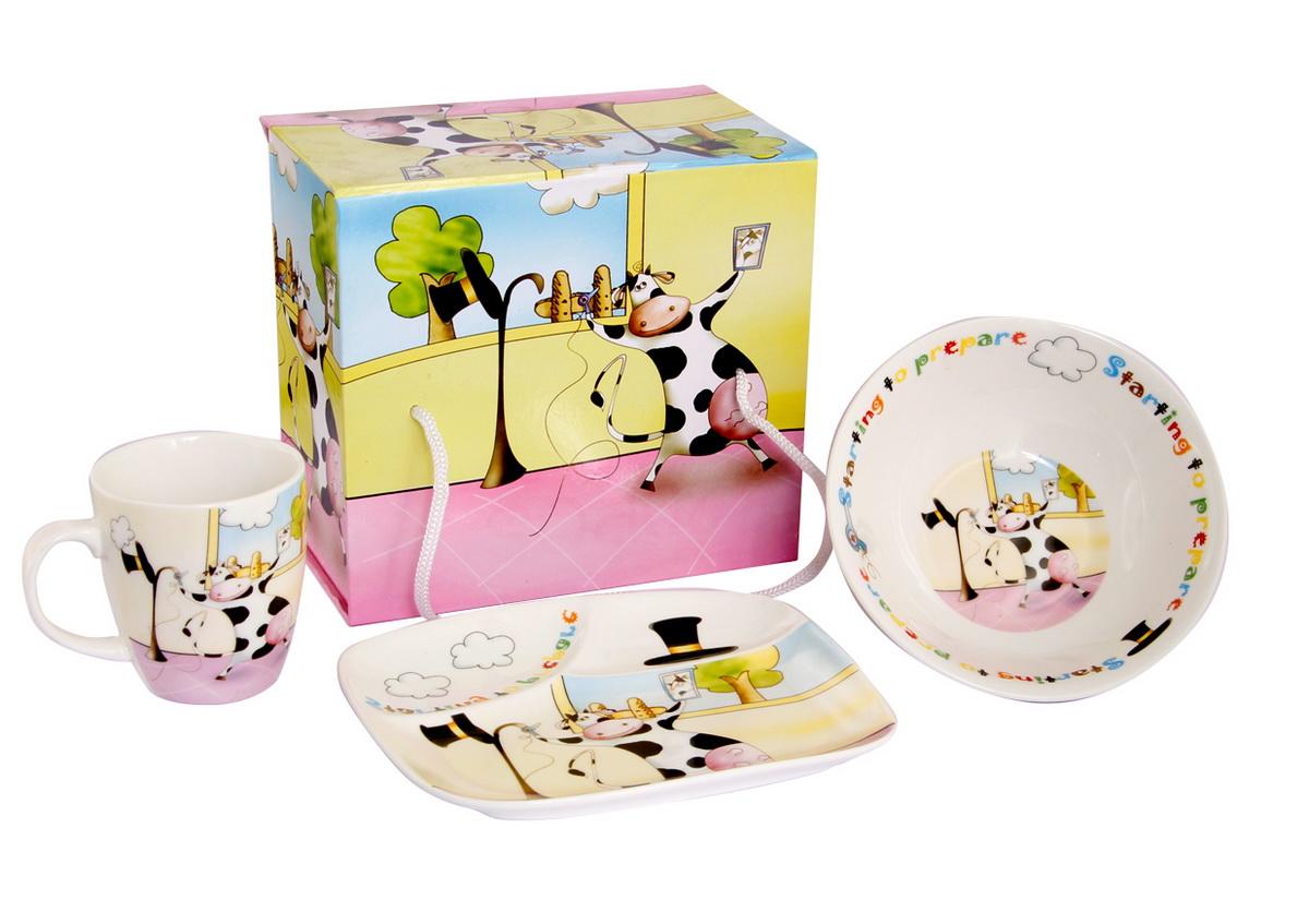 Rosenberg Набор детской посуды 877515022_белый, коралловыйНабор детской посуды Rosenberg:плоская тарелка 17.5 х 15 см,глубокая тарелка 12.5 х 12.5 см, 300 млкружка 175 млМатериал: керамика