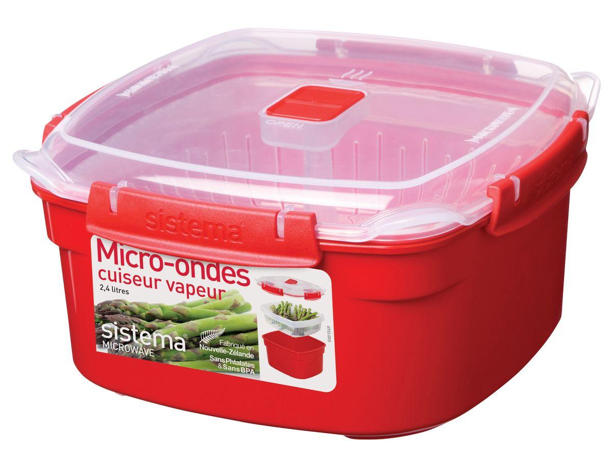 Контейнер Sistema Microwave, 3,2 лVT-1520(SR)В контейнере Sistema Microwave вы с легкостью сможете не только разогреть пищу в СВЧ, но и приготовить ее. Просто налейте воды в базовый контейнер, поместите пищу в пластиковый дуршлаг, откройте на крышке клапан пароотвода и поместите все в микроволновую печь. Через несколько минут вы можете насладиться полезной пищей. Контейнер надежно закрывается клипсами, которые при необходимости можно заменить. Крышка с силиконовой прокладкой герметично закрывается, что помогает дольше сохранить полезные свойства продуктов.Можно мыть в посудомоечной машине.