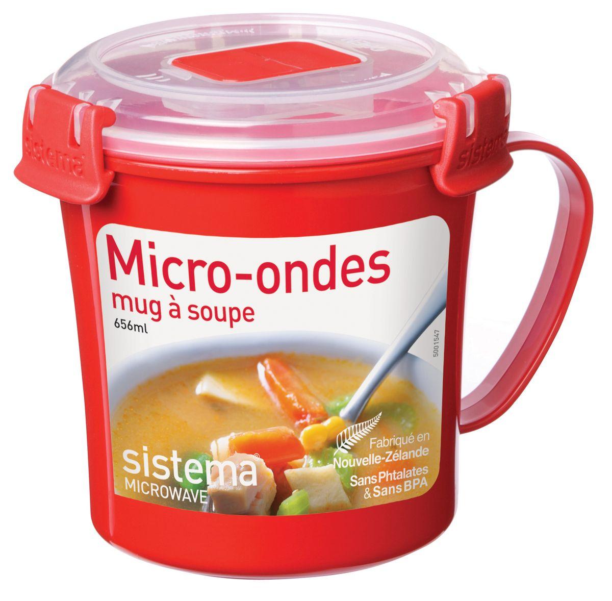 Кружка суповая Sistema Microwave, 656 млVT-1520(SR)Кружка суповая Sistema Microwave создана для людей, ведущих активный образ жизни. Кружка с надежной защитой от протечек позволит взять с собой горячий суп на пикник, в офис или в поездку. На крышке имеется силиконовая прокладка, которая способствует герметичному закрыванию. Контейнер надежно закрывается клипсами, которые при необходимости можно заменить.Можно мыть в посудомоечной машине.