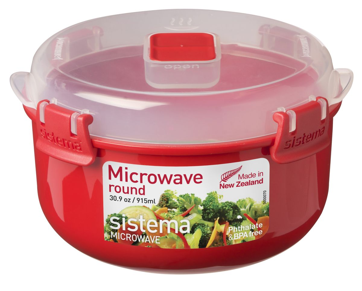 Контейнер круглый Sistema Microwave, 915 млRC30 RedВ контейнере Sistema Microwave вы с легкостью сможете не только разогреть пищу в СВЧ, но и приготовить ее. Контейнер надежно закрывается клипсами, которые при необходимости можно заменить. Можно мыть в посудомоечной машине.
