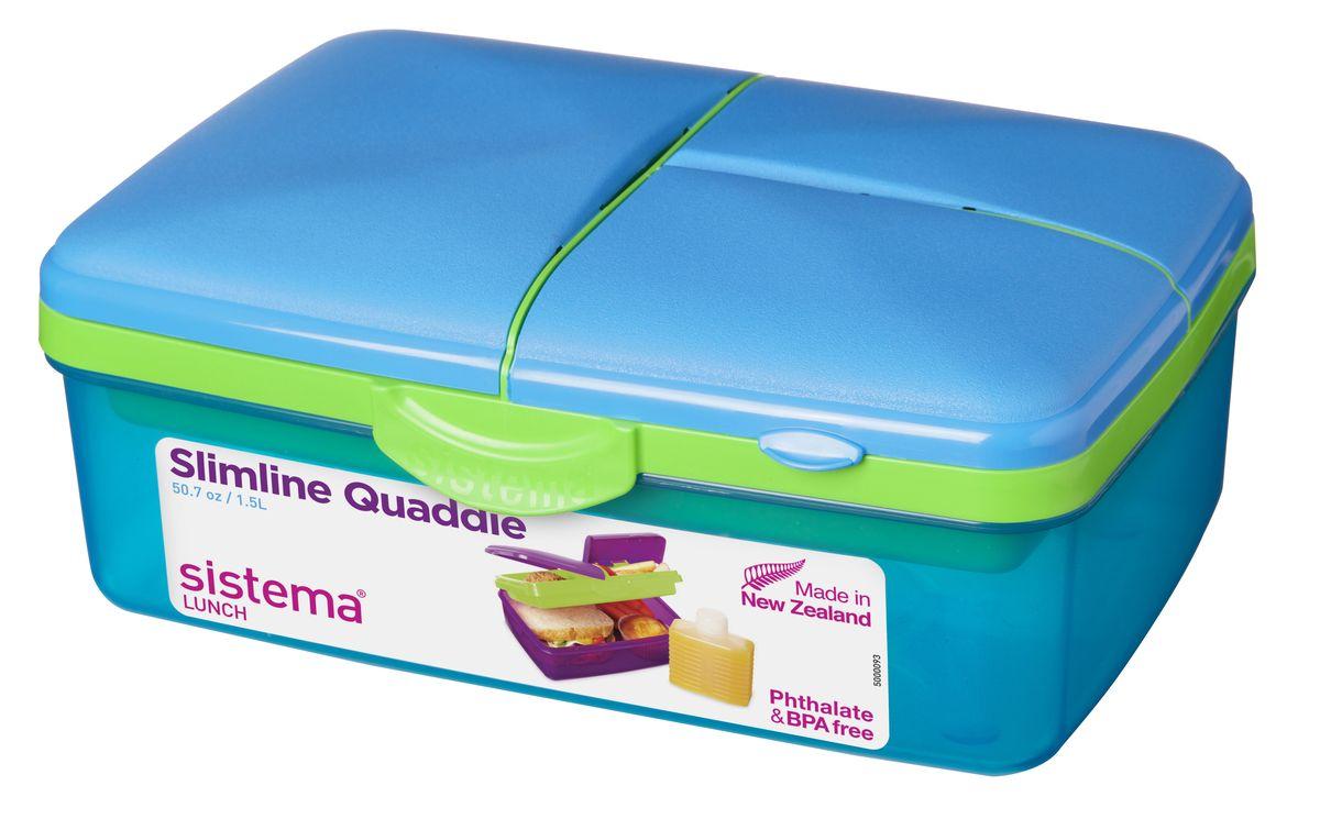 Ланч-бокс Sistema Lunch, 4-секционный, с бутылкой, цвет: голубой, 1,5 лFD-59Ланч-бокс Sistema Lunch представляет собой контейнер универсального назначения. Он имеет четыре секции, предназначенные для хранения и переноски различных продуктов. На крышке имеется силиконовая прокладка, которая способствует герметичному закрыванию клипсами, которые при необходимости можно заменить. В комплект входит бутылочка, в которую вы можете налить любимый напиток и не есть всухомятку.Преимущества ланч-бокса:- технология герметичности продумана таким образом, что ароматы блюд не испаряются при хранении, при этом каждую емкость легко открыть;- конструкция позволяет долго сохранять свежесть продуктов, не допуская их пересыхания или увлажнения;- предметы изготовлены из пластика, который не содержит бисфенола А и S, фталатов;- изделия безопасны для использования на детской кухне;- можно применять для хранения горячего, замораживания и разогрева пищи в микроволновых печах.Благодаря компактным размерам и относительно большой вместимости ланч-бокса Sistema Lunch подойдет для людей, чья жизнь проходит в постоянном движении. Кроме того, вам больше не придется носить с собой сразу несколько контейнеров.Можно мыть в посудомоечной машине.Общий размер ланч-бокса: 23 х 16 х 9 см.Объем ланч-бокса: 1,5 л.Размер бутылки: 11,5 х 9 х 4 см.