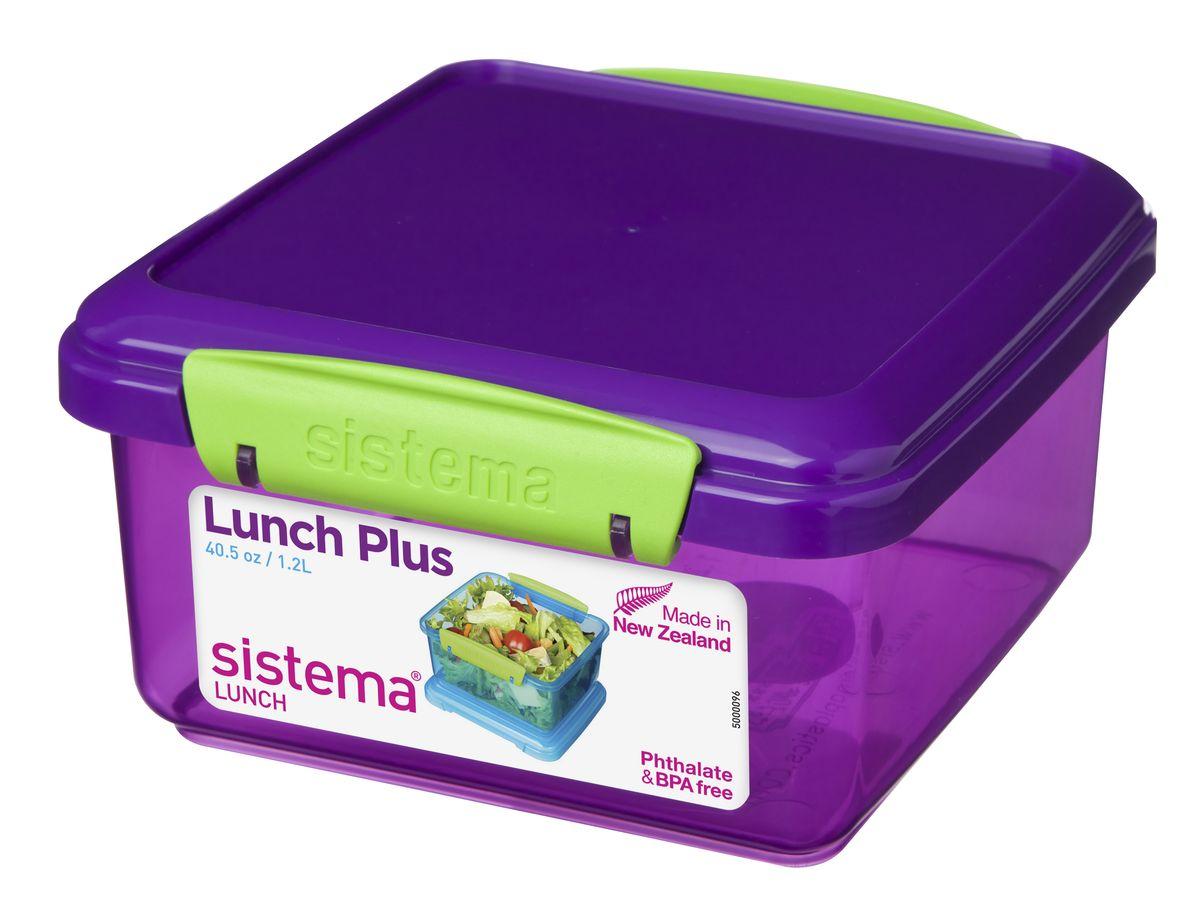 Контейнер Sistema, цвет: фиолетовый, 1,2 л218032Контейнер Lunch Plus удобен для хранения и транспортировки бутербродов, порционных салатов, мяса или рыбы, горячих и холодных блюд. Ланч-бокс для детей и взрослых позволяет взять даже сложный обед, из нескольких блюд, в одном компактном контейнере. Контейнер оснащен фиксирующимися зажимами - клипсами, которые при необходимости можно будет заменить.На крышке имеется прорезиненный обод, который способствует более герметичному закрыванию. Можно мыть в посудомоечной машине.