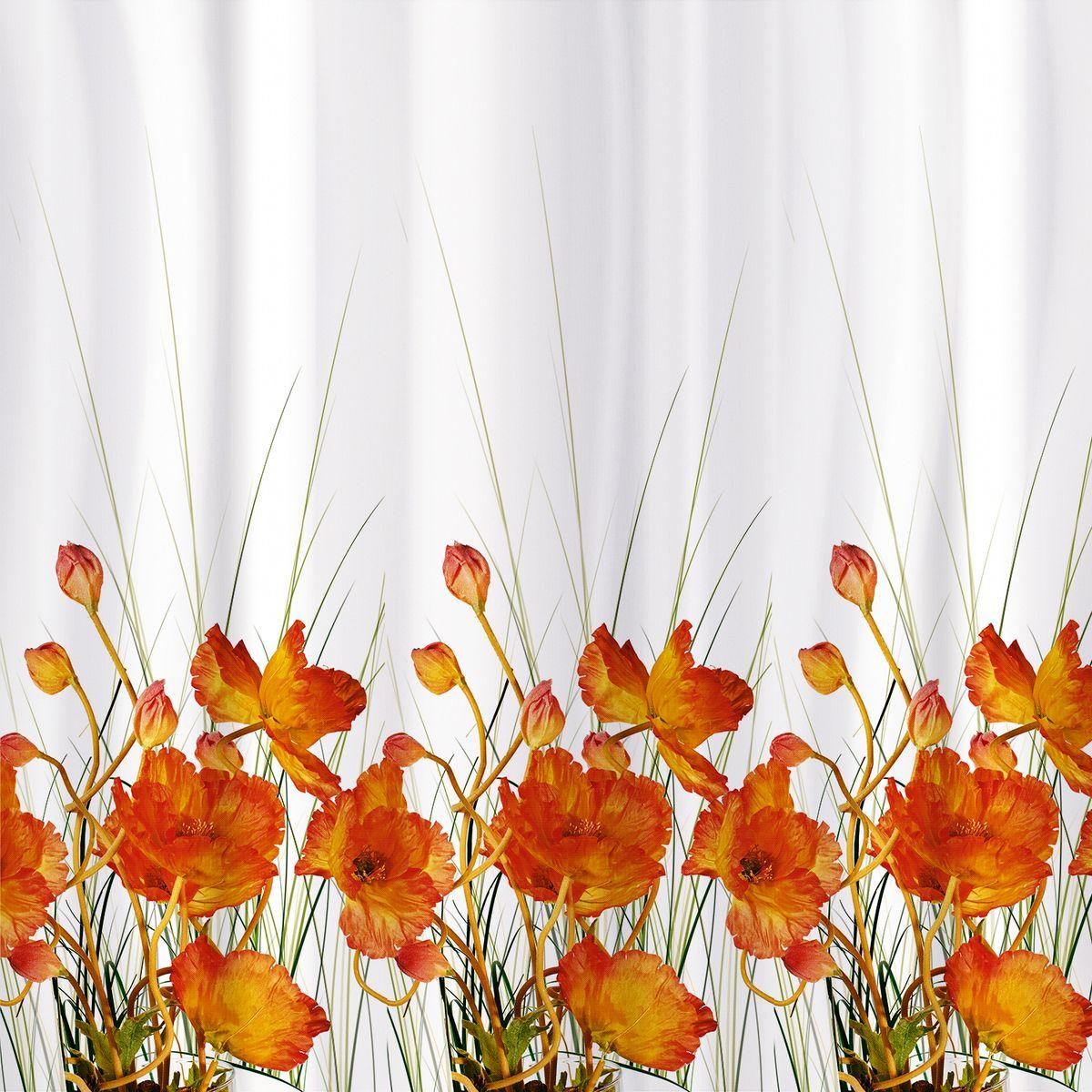 Штора для ванной Tatkraft French Poppies Textile, цвет: белый, оранжевый, 180 х 180 см68/5/3Штора для ванной Tatkraft French Poppies Textile имеет специальную водоотталкивающую пропитку и антигрибковое покрытие. Штора быстро сохнет, легко моется и обладает повышенной износостойкостью. Штора оснащена магнитами-утяжелителями для лучшей фиксации. Мягкая и приятная на ощупь штора для ванной Tatkraft порадует вас своим ярким дизайном и добавит уюта в ванную комнату.