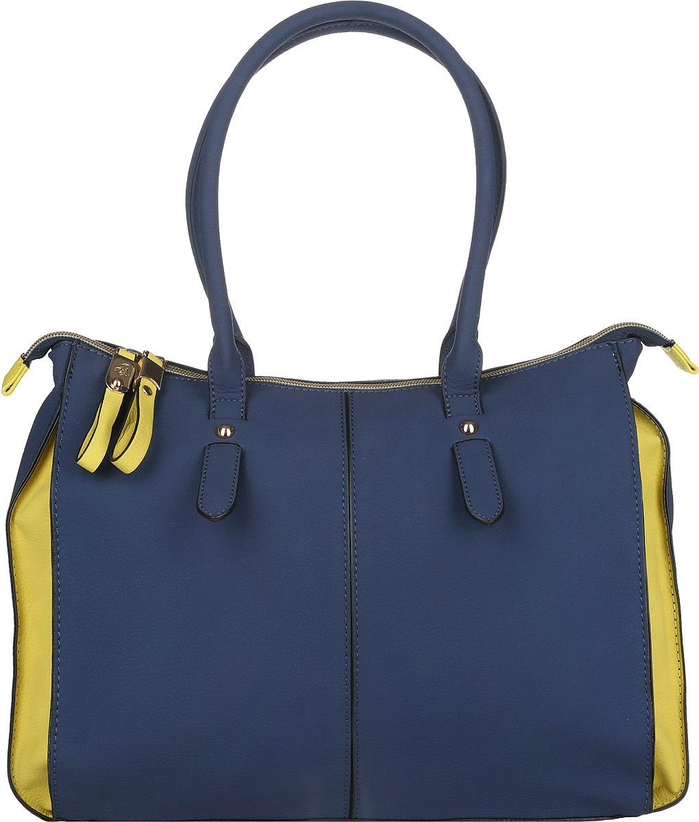 Сумка женская Jane Shilton, цвет: темно-синий, желтый. 2055747998-101Стильная женская сумка Jane Shilton выполнена из искусственной кожи с фактурным тиснением. Изделие имеет одно основное отделение, разделенное пополам карманом-средником на застежке-молнии. Закрывается изделие на застежку-молнию. Внутри находятся прорезной карман на застежке-молнии и накладной открытый карман. Снаружи, на задней стенке расположен прорезной карман на застежке-молнии. Модель оснащена двумя удобными ручками. Роскошная сумка внесет элегантные нотки в ваш образ и подчеркнет ваше отменное чувство стиля.