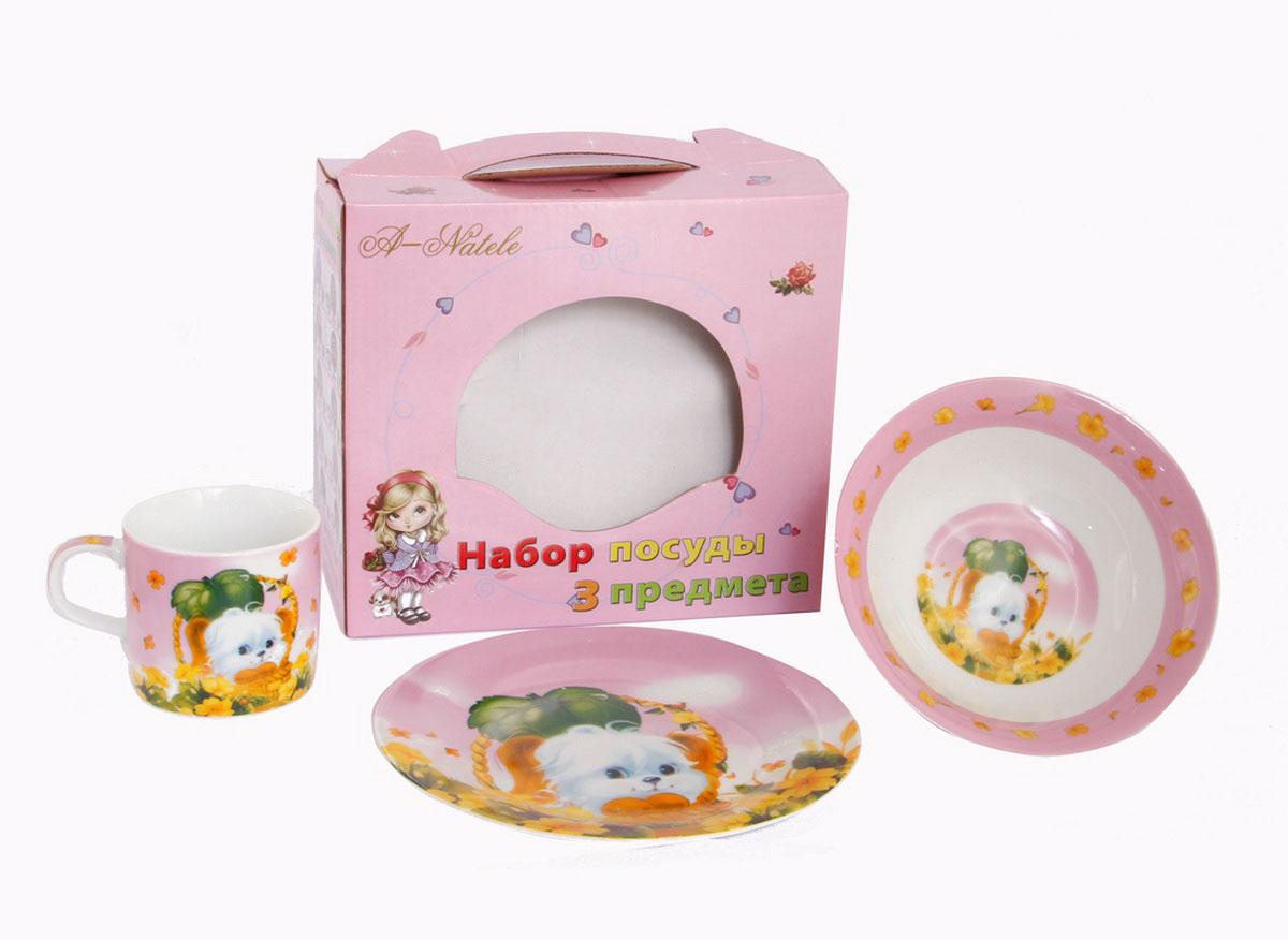 Rosenberg Набор детской посуды 876254 009312плоская тарелка d=18см,глубокая тарелка d=15см,кружка 200мл