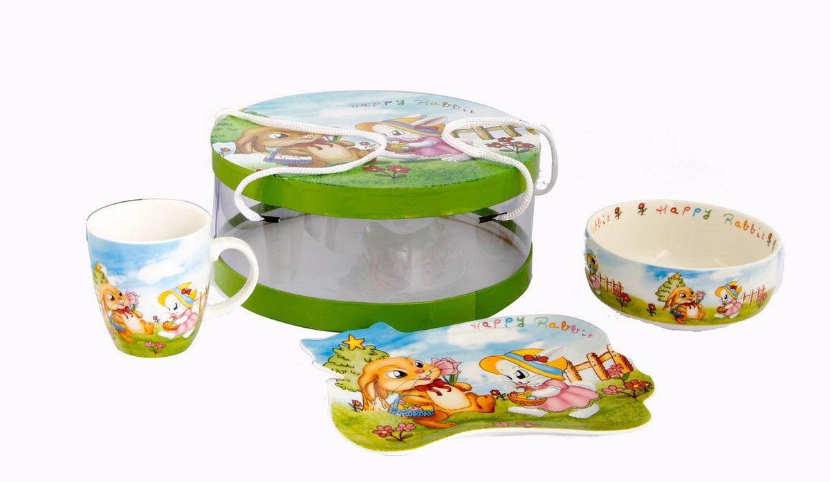 Rosenberg Набор детской посуды 877254 009312Набор детской посуды Rosenberg:плоская тарелка 17.5 х 15 см,глубокая тарелка 12.5 х 12.5 см, 300 млкружка 175 млМатериал: керамика