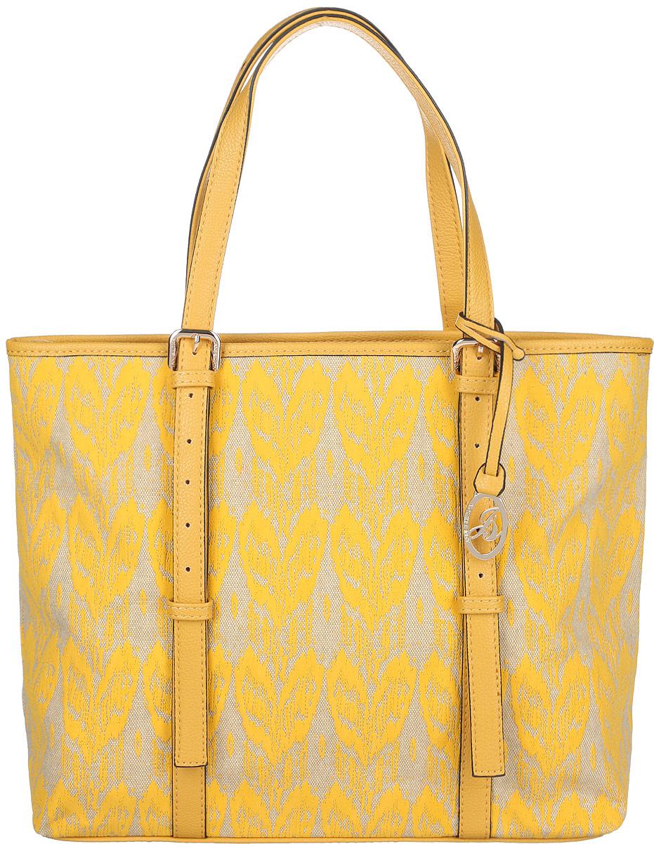 Сумка женская Jane Shilton, цвет: желтый, слоновая кость. 2080101225Стильная женская сумка Jane Shilton, выполненная из искусственной кожи и текстиля, оформлена оригинальным принтом и дополнена фирменным брелоком.Изделие имеет одно основное отделение, закрывающееся на застежку-молнию. Внутри находятся накладной открытый карман и мягкий карман для планшета или небольшого ноутбука, закрывающийся на хлястик с застежкой-кнопкой. Снаружи, на задней стенке расположен прорезной карман на застежке-молнии. Модель оснащена двумя удобными ручками. Роскошная сумка внесет элегантные нотки в ваш образ и подчеркнет ваше отменное чувство стиля.