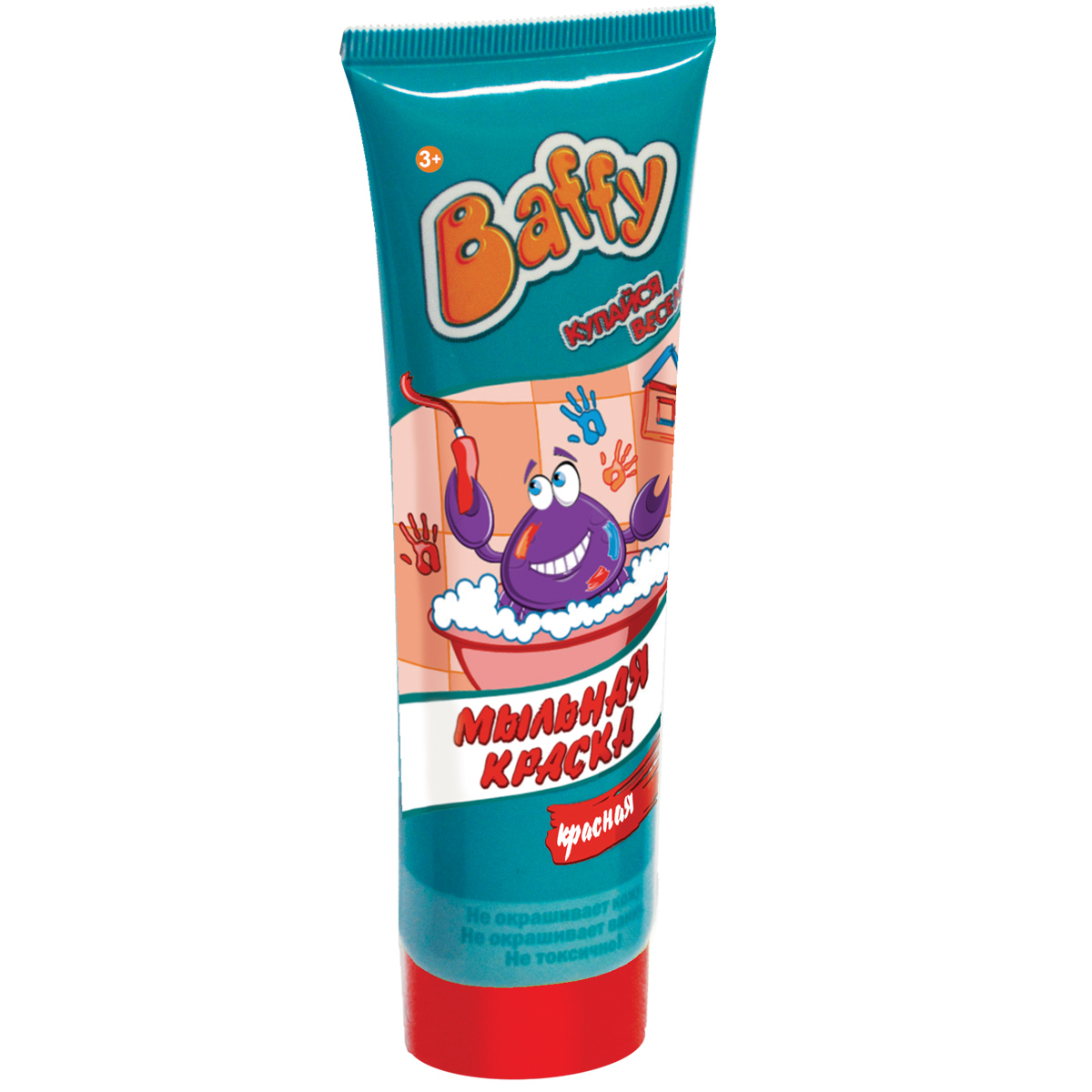"""Купание в ванне превратится в увлекательную и творческую игру с помощью мыльной краски """"Baffy"""". Теперь можно рисовать прямо в ванной! Нанесите краски на кожу, рисуйте на кафельной поверхности или самой ванне. Благодаря специальному мыльному составу, красками можно не только рисовать, но и мыться. Легко смываются водой. Не окрашивает кожу и ванну. Безопасно для кожи ребенка. Объем: 75 мл."""