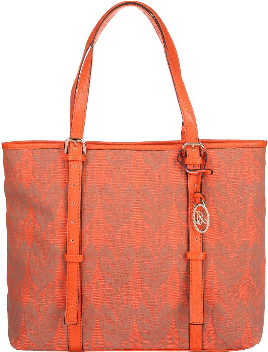 Сумка женская Jane Shilton, цвет: оранжевый, бежевый. 2080S76245Стильная женская сумка Jane Shilton, выполненная из искусственной кожи и текстиля, оформлена оригинальным принтом и дополнена фирменным брелоком.Изделие имеет одно основное отделение, закрывающееся на застежку-молнию. Внутри находятся накладной открытый карман и мягкий карман для планшета или небольшого ноутбука, закрывающийся на хлястик с застежкой-кнопкой. Снаружи, на задней стенке расположен прорезной карман на застежке-молнии. Модель оснащена двумя удобными ручками. Роскошная сумка внесет элегантные нотки в ваш образ и подчеркнет ваше отменное чувство стиля.