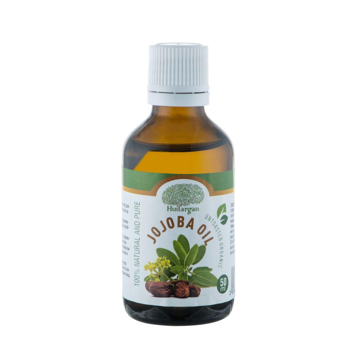 Huilargan Масло жожоба, 100% органическое, 50 мл4650001791481Масло жожоба (Jojoba oil) – 'то идеальное средство для ежедневного ухода за кожей всех типов, также как и за волосами любой структуры и типов. Оно обладает высокими регенерирующими, увлажняющими, противовоспалительными и смягчающими свойствами. Богато витамином Е. Отличная проникающая способность масла обеспечивает полное всасывание в кожу и волосы, поэтому оно не оставляет на лице и волосяных стволах жирного блеска.Масло жожоба применяется при лечении экзем, дерматитов, нейродермитов, псориаза и других серьезных кожных проблемах – в лечебных мазях.В комплексном лечении акне, фурункулов, угревой сыпи и различных воспалений и высыпаний на коже.Сухую, пересушенную, шелушащуюся и воспаленную кожу оно увлажняет и питает, проникая в глубокие слои кожи, идеально ухаживая за кожными структурами лица, шеи, груди и декольте. Эффективно разглаживает морщины при дряблой, стареющей коже.Прекрасное средство после бритья, поэтому его рекомендуется использовать как смягчающее средство после травмирующего кожу бритья.Ухаживает за губами, увлажняя их. Исчезает излишняя сухость губ, трещинки и шелушение на губах и вокруг них.