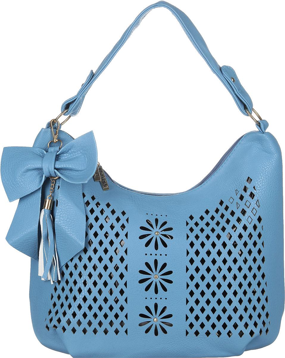 Сумка женская Flioraj, цвет: голубой, черный. 00051144S76245Стильная женская сумка Flioraj выполнена из искусственной кожи. Лицевая сторона оформлена декоративной перфорацией. Изделие имеет одно основное отделение, разделенное пополам карманом-средником на застежке-молнии. Закрывается изделие на застежку-молнию. Внутри находятся прорезной карман на застежке-молнии и накладной открытый карман. Снаружи, на задней стенке расположен прорезной карман на застежке-молнии. Модель оснащена одной ручкой и дополнена съемным декоративным брелоком в виде бантика с кисточкой. Основание изделия защищено от повреждений металлическими ножками. Роскошная сумка внесет элегантные нотки в ваш образ и подчеркнет ваше отменное чувство стиля.