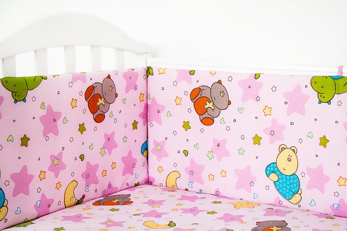 Baby Nice Бампер в кроватку Звездопад цвет розовый