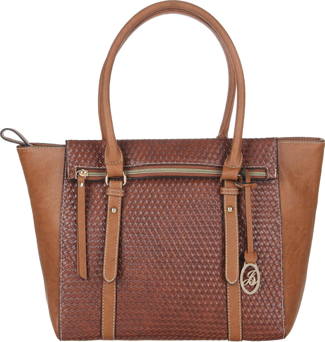 Сумка женская Jane Shilton, цвет: коричневый. 2058A-B86-05-CСтильная женская сумка Jane Shilton, выполненная из искусственной кожи, оформлена тиснением под плетение и дополнена фирменным брелоком. Изделие имеет одно основное отделение, закрывающееся на застежку-молнию. Внутри находятся прорезной карман на застежке-молнии и накладной открытый карман. Снаружи, на передней стенке расположен оригинальный карман на застежке-молнии, на задней стенке - прорезной карман на застежке-молнии. Модель оснащена двумя удобными ручками. Роскошная сумка внесет элегантные нотки в ваш образ и подчеркнет ваше отменное чувство стиля.