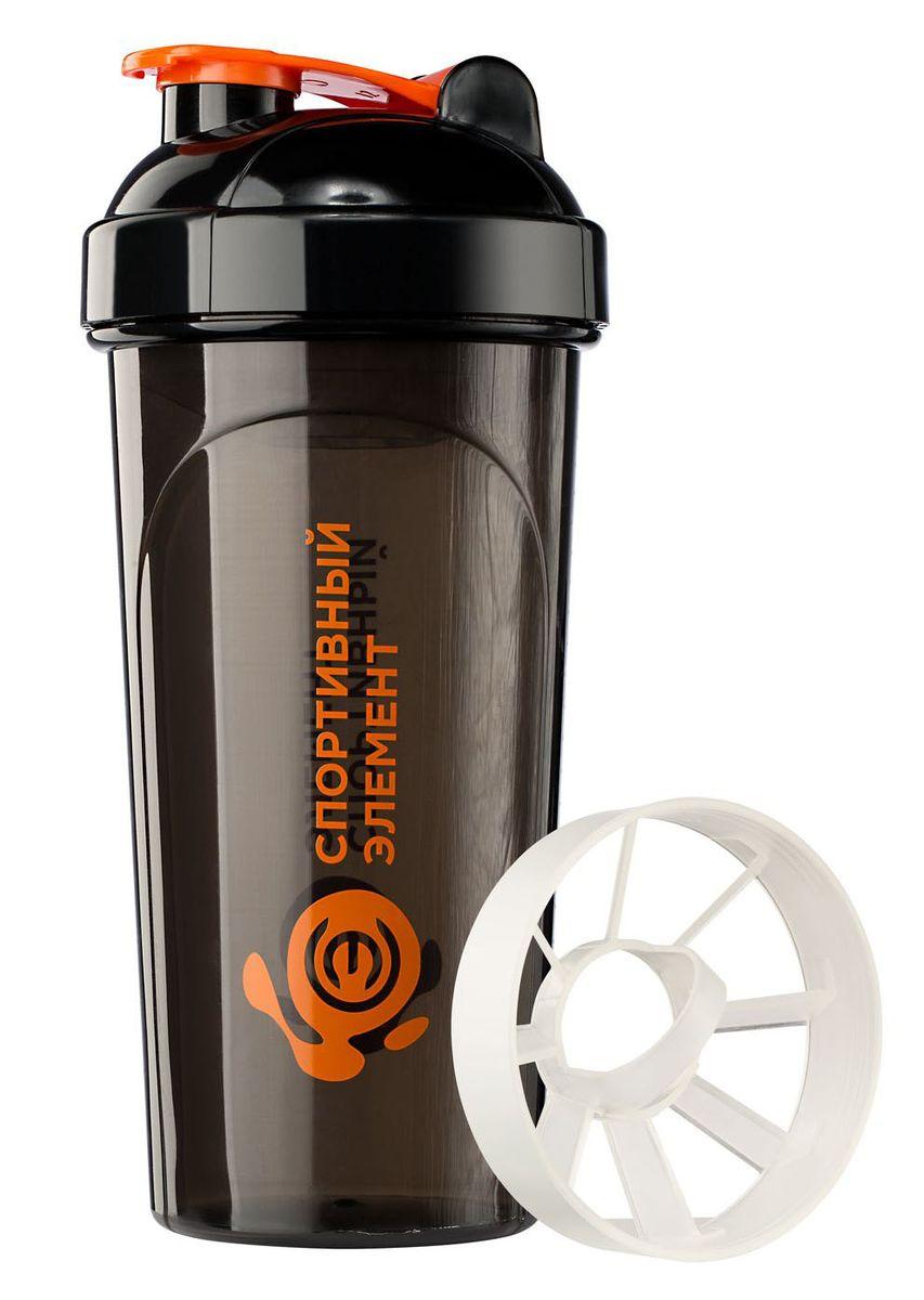 Шейкер Спортивный элемент Турмалин, 700 мл. S02-700RUC-01Спортивный шейкер, S02-700, 700 мл. Черный полупрозрачный стакан, оранжевый лого, оранжевая защелка, черная крышка, белая сеточка для фильтрации комков, шкала для определения объема.Стильная модель с удобным носиком для питья