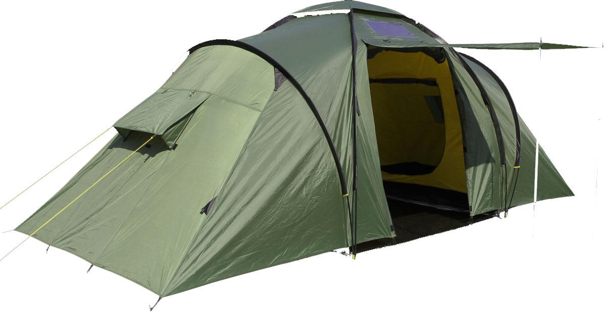 Палатка Сплав Twin camp 4, цвет: зеленый81-623Сплав Twin camp 4 - это классическая кемпинговая палатка с двумя спальными отделениями и общим тамбуром. Палатка и тент изготовлены из прочного полиэстера. Высота позволяет перемещаться внутри палатки в полный рост. Входы в палатку продублированы противомоскитной сеткой. На торцевых поверхностях спальных отделений большие функциональные вентиляционные окна. Изделие снабжено отдельным полом для тамбура. Палатка имеет большое количество оттяжек для надежного натяжения в ветреную погоду. Швы тента и дна проклеены.Количество мест: 4.Размеры внешней палатки, тента: 515 х 225 х 200 см.Размеры спального места: 205 х 140 х 165 см.Размеры в упакованном виде: 75 х 37 х 19 см.Полный вес: 13,51 кг.Минимальный вес (без чехла и колышков): 12,03 кг.