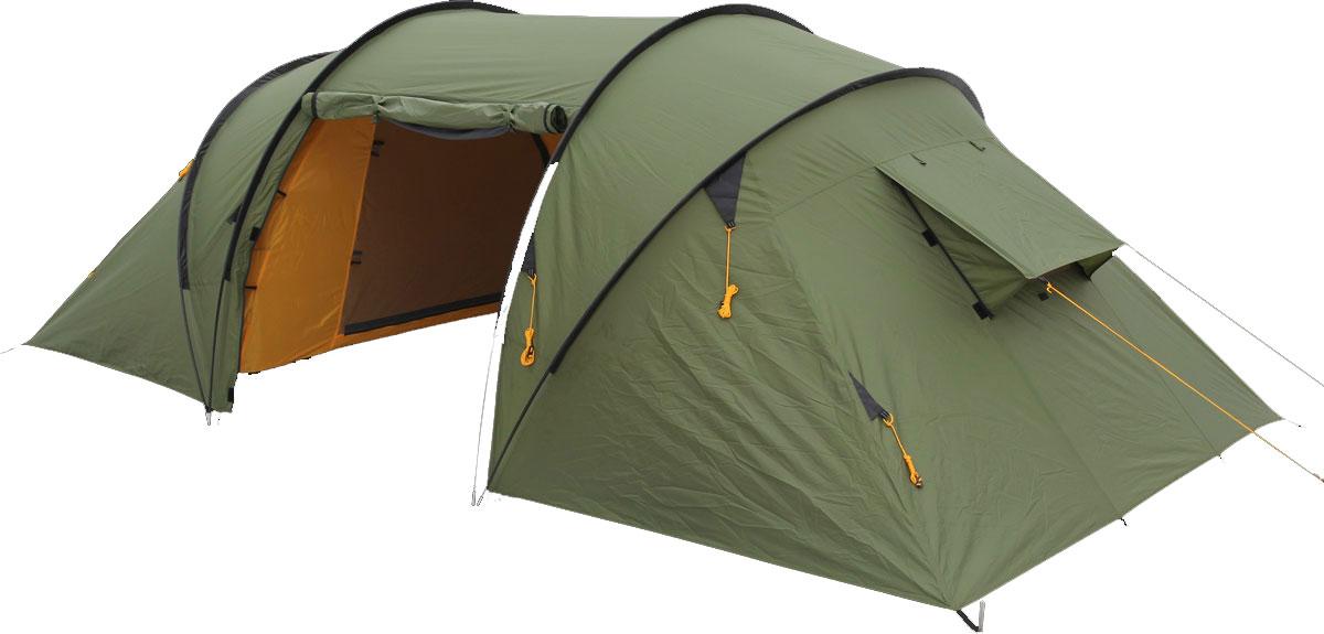 Палатка Сплав Pride 4, цвет: зеленый81-629Сплав Pride 4 - это классическая кемпинговая палатка с двумя спальными отделениями и общим тамбуром. Палатка и тент изготовлены из прочного полиэстера. Высота позволяет перемещаться внутри палатки в полный рост. Входы в палатку продублированы противомоскитной сеткой. На торцевых поверхностях спальных отделений большие функциональные вентиляционные окна. Палатка снабжена отдельным полом для тамбура и большим количеством оттяжек для натяжения в ветреную погоду. Швы тента и дна проклеены.Количество мест: 4.Количество дуг: 3 шт.Размеры внешней палатки, тента: 410 х 220 х 140 см.Размеры спального места: 210 х 135 х 130 см.Размеры в упакованном виде: 70 х 35 х 18 см.Полный вес: 9,24 кг.Минимальный вес (без чехла и колышков): 7,85 кг.