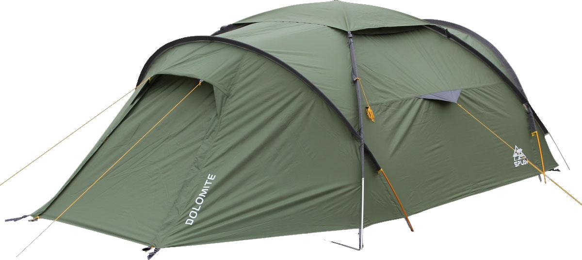 Палатка Сплав Dolomite 4, цвет: хакиTTT-014Сплав Dolomite 4 - это универсальная палатка на внешних дугах с большим внутренним объёмом и высокой ветроустойчивостью. Дуги изготовлены из алюминиевого сплава, а палатка и тент из прочного полиэстера. Конструкция изделия позволит легко и быстро установить палатку в неблагоприятных погодных условиях. Тент и палатка могут устанавливаться одновременно. Возможна установка отдельно тента без внутренней палатки. Изделие имеет два входа и два тамбура. Вентиляционные отверстия над внутренней палаткой можно открывать и закрывать, не выходя из палатки. Палатка снабжена множеством карманов. Имеется съемная подвесная полка. Швы тента и дна проклеены. Веревки оттяжек имеют вплетенную светоотражающую нить.Количество мест: 4.Количество дуг: 4 шт.Размеры внешней палатки, тента: 450 х 240 х 130 см.Размеры спального места: 240 х 220 х 120 см.Размеры в упакованном виде: 55 х 25 х 25 см.Полный вес: 6,05 кг.Минимальный вес (без чехла и колышков): 5,65 кг.