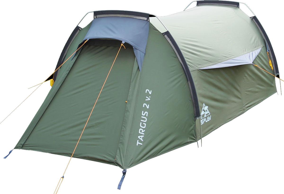 Палатка Сплав Targus 2 v.2, цвет: зеленыйУТ-000059401Сплав Targus 2 v.2 - это комфортная двухместная туристическая палатка на внешних дугах. Палатка имеет два входа и два тамбура. Вход внутренней палатки продублирован противомоскитной сеткой. Благодаря большим вентиляционным отверстиям над входами, палатка обладает хорошей проточной вентиляцией. Конструкция на внешних дугах позволит легко и быстро установить палатку даже в неблагоприятных погодных условиях. Палатка снабжена штормовыми оттяжками. Веревки оттяжек имеют вплетенную светоотражающую нить. Швы тента и дна проклеены.Количество мест: 2.Размеры внешней палатки: 350 х 135 х 100 см. Размеры спального места: 200 х 120 х 90 см.Полный вес: 2,99 кг.Минимальный вес (без чехла и колышков): 2,73 кг.