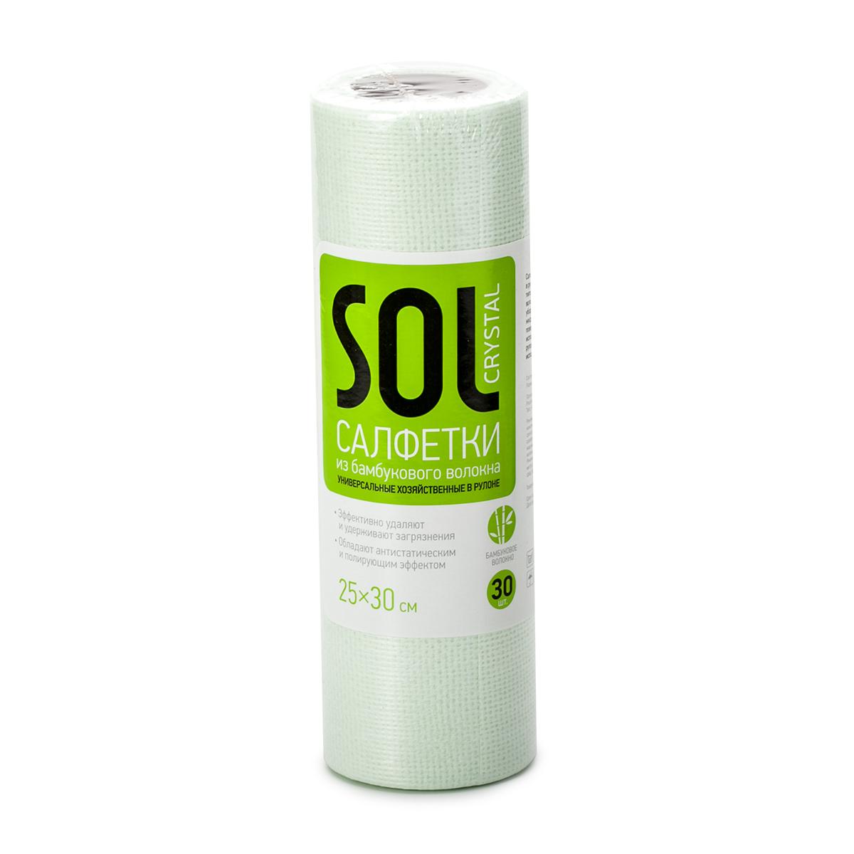 Салфетка для уборки Sol Crystal, в рулоне, 25 x 30 см, 30 штNN-604-LS-BUУниверсальные хозяйственные салфетки в рулоне Sol Crystal - это удобное решение для любых типов уборки. Изделие выполнено из бамбукового волокна, полиэстера и вискозы. Салфетки обладают полирующим и антистатическим эффектом. Подходят для сухой и влажной уборки, быстро и эффективно впитывают жидкость, не оставляя ворса и разводов на поверхности. Они очень удобны в использовании - легко отрываются от рулона по линии перфорации и могут быть использованы многократно.