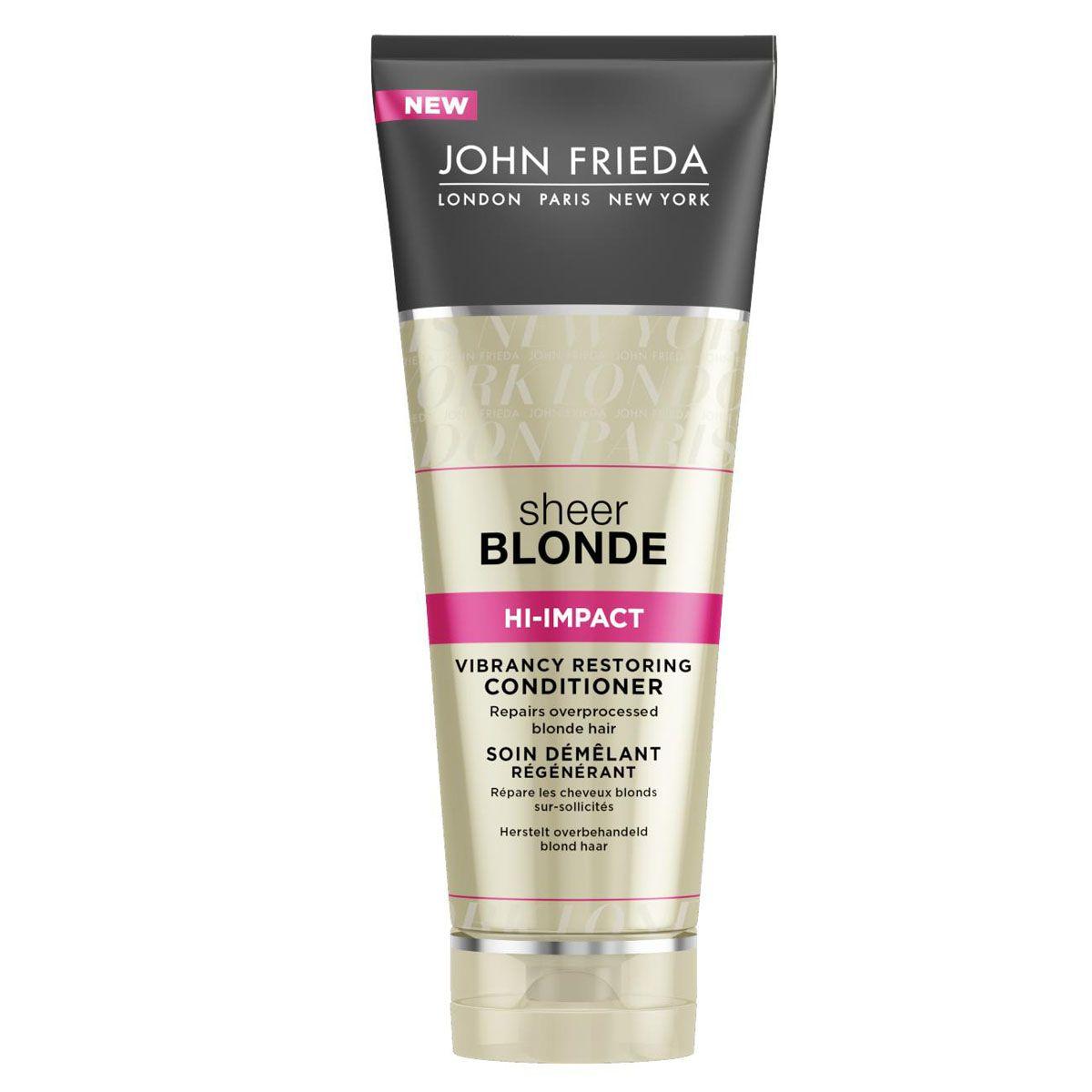 John Frieda Восстанавливающий кондиционер для сильно поврежденных волос Sheer Blonde HI-IMPACT 250 мл72523WDРеставрирует сильно поврежденные светлые волосы. Реанимирует и восстанавливает истонченные сильно поврежденные светлые волосы, возвращает им здоровый блеск и эластичность. Восстанавливающий кондиционер дополнительно увлажняет и питает ослабленные истонченные участки.